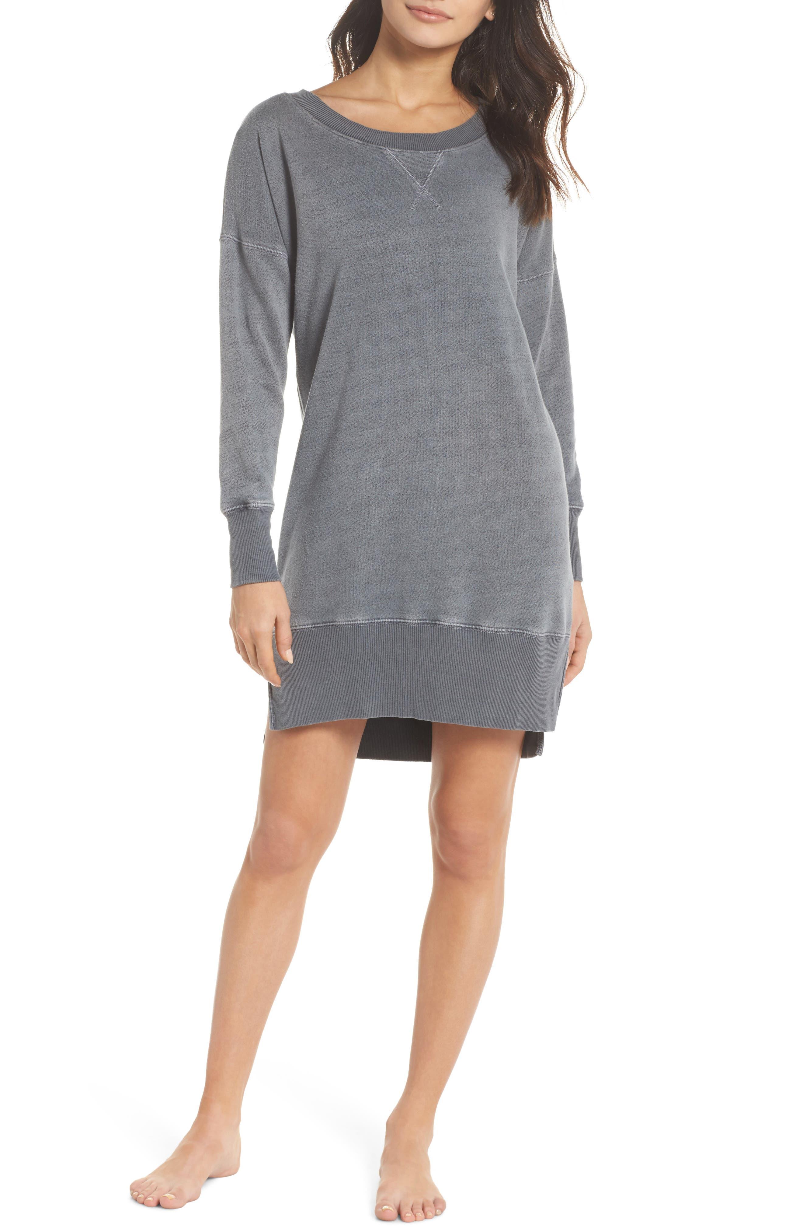 Lounge Sweatshirt Dress,                             Main thumbnail 1, color,                             FADED BLACK