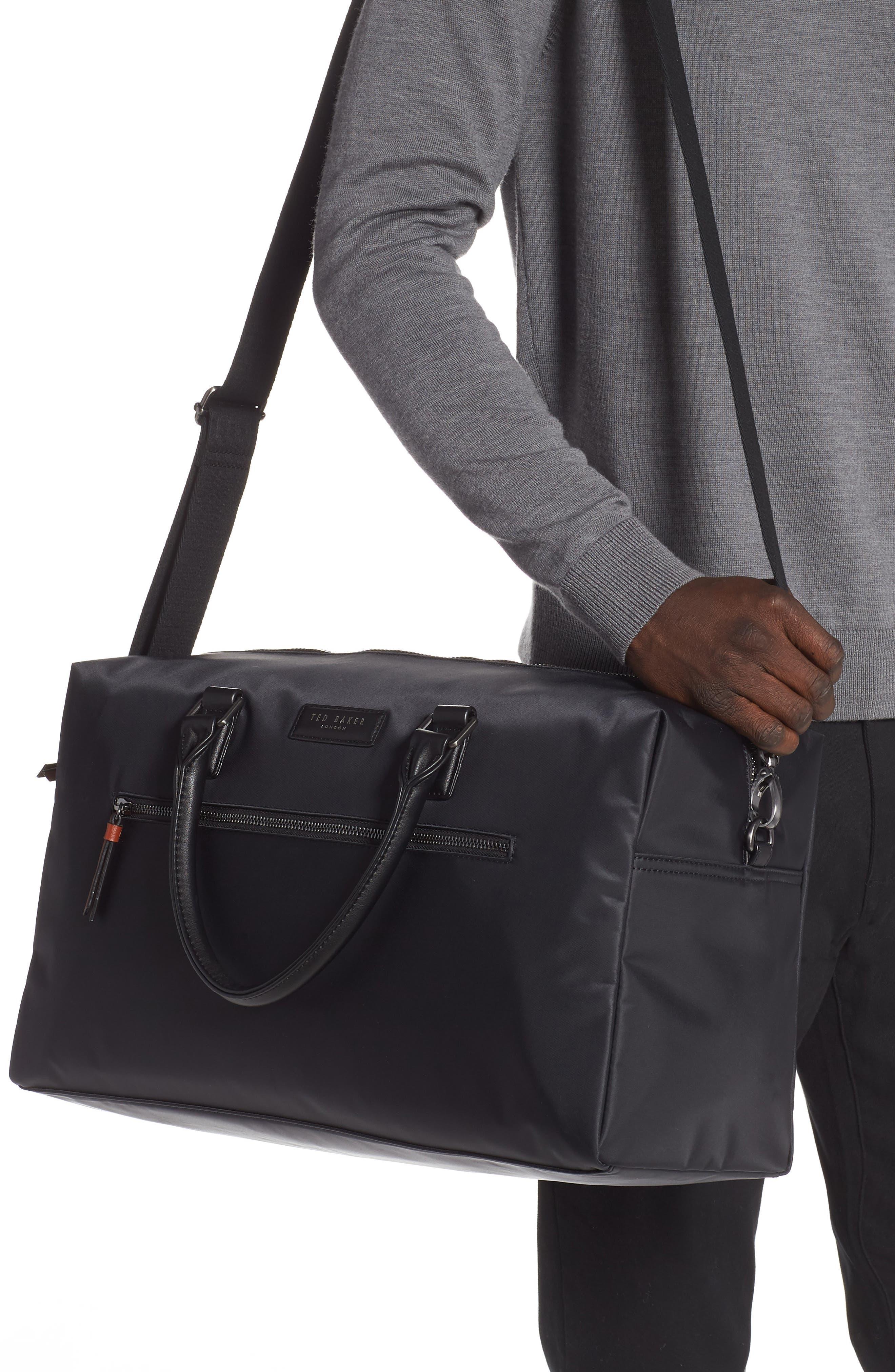 Nylon Duffel Bag,                             Alternate thumbnail 2, color,                             BLACK