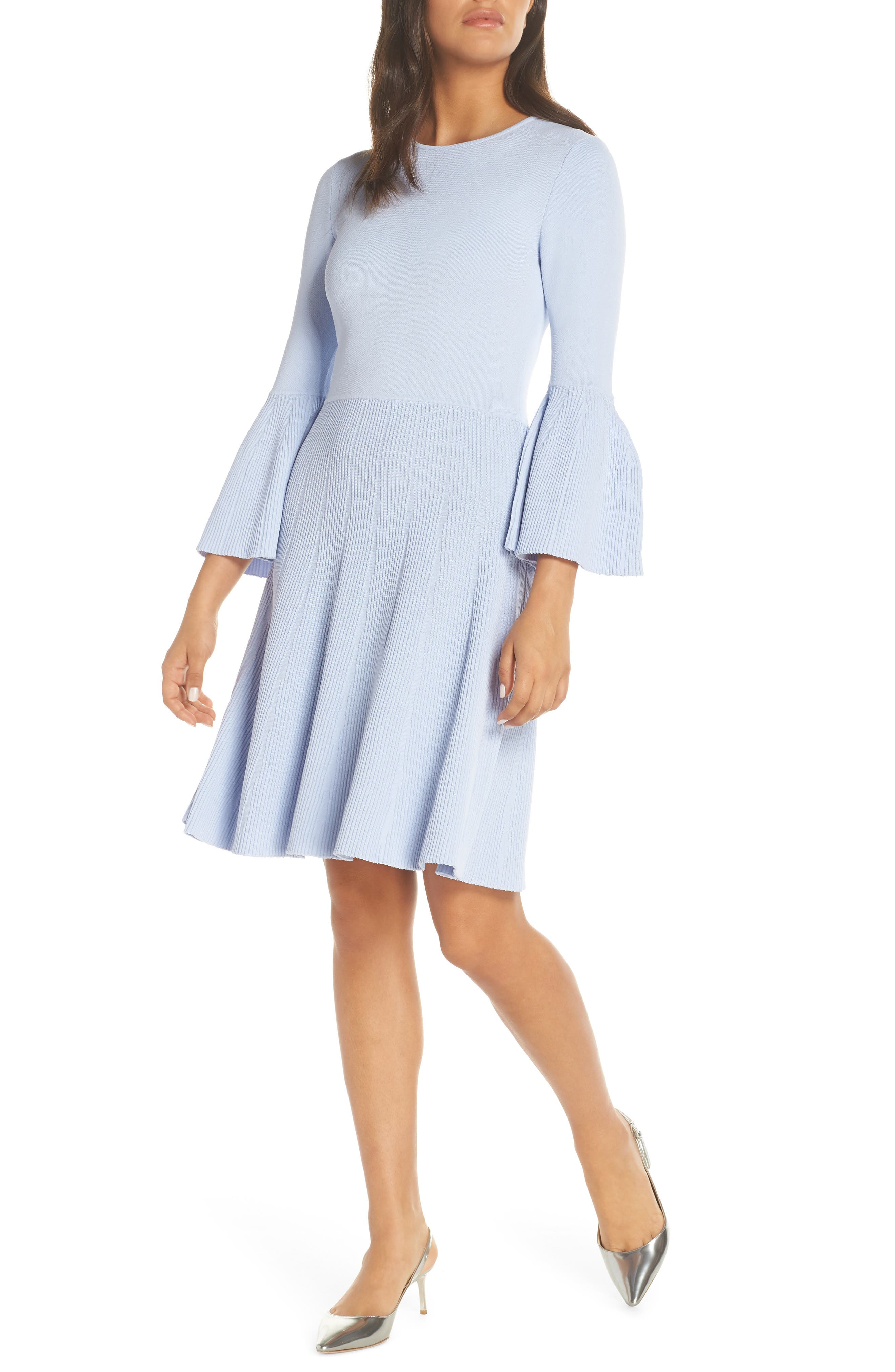 Eliza J Fit & Flare Sweater Dress, Blue
