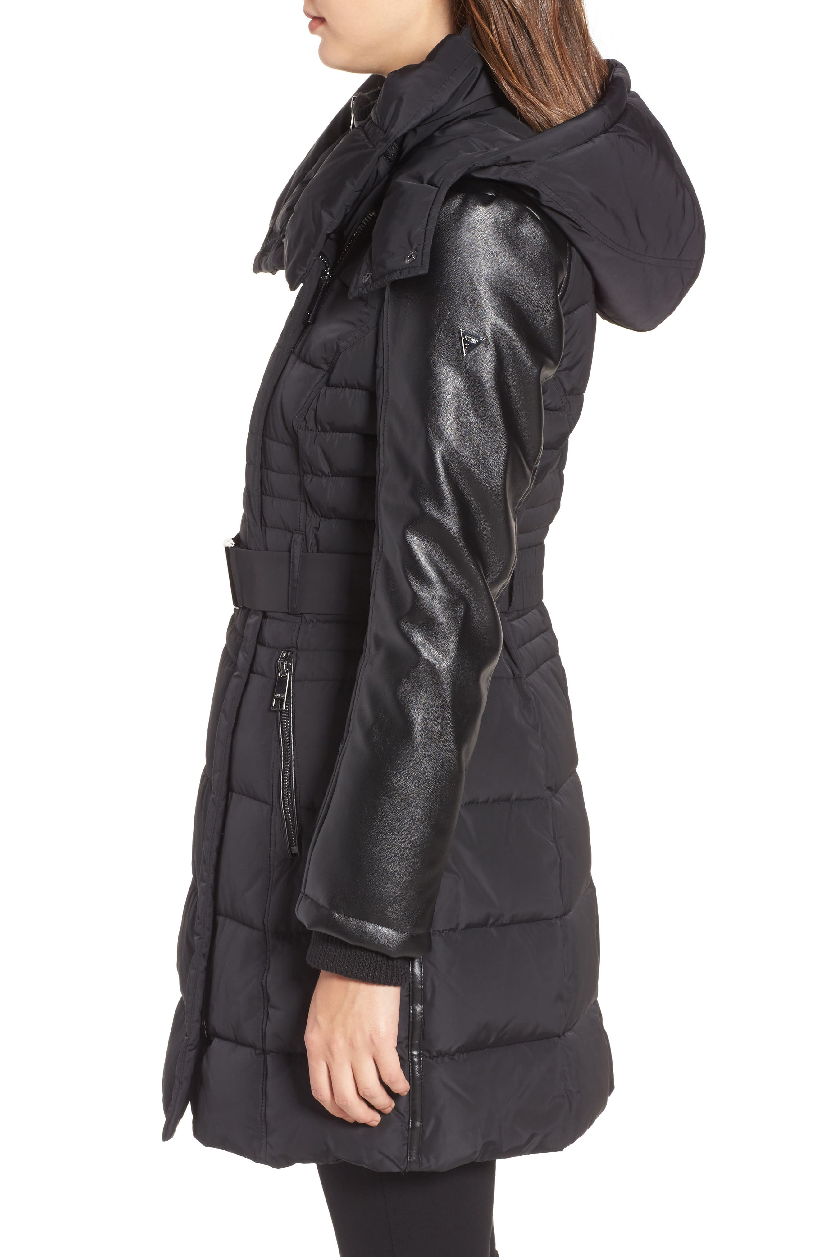 Belted Mixed Media Coat,                             Alternate thumbnail 3, color,                             001