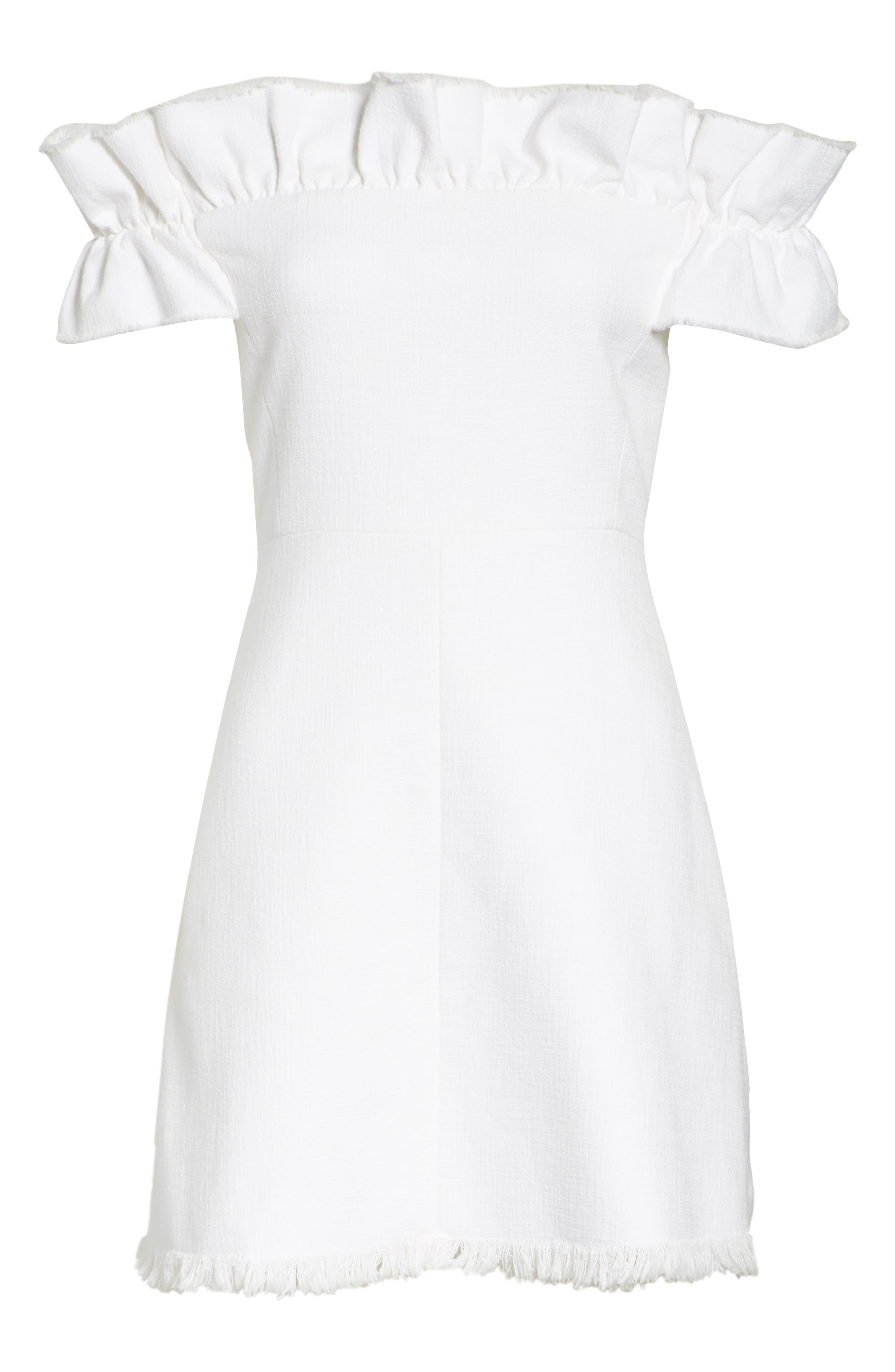 Off the Shoulder Ruffle Dress,                             Alternate thumbnail 6, color,                             115