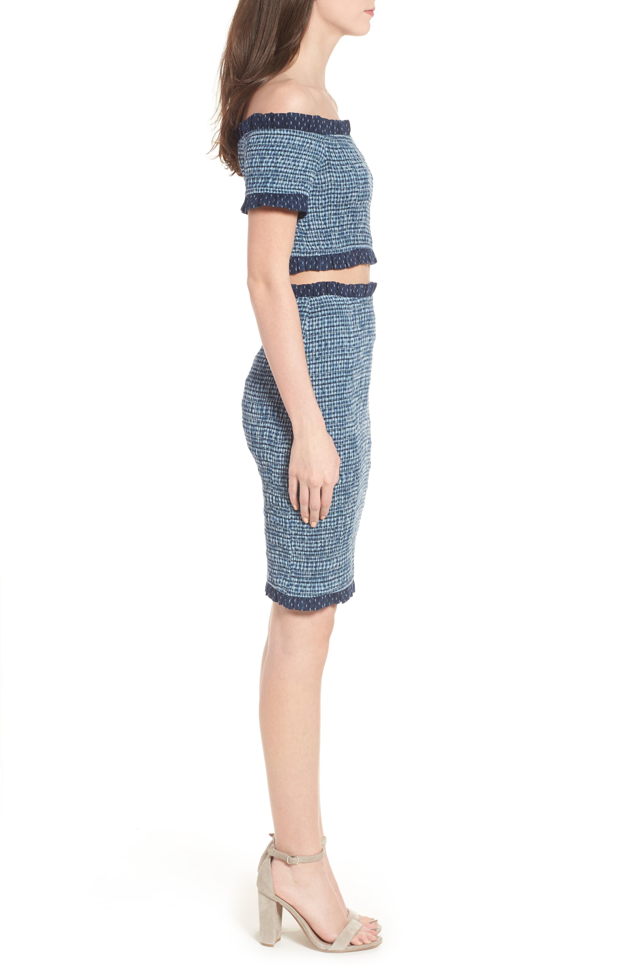Kylie Smocked Skirt,                             Alternate thumbnail 9, color,                             001