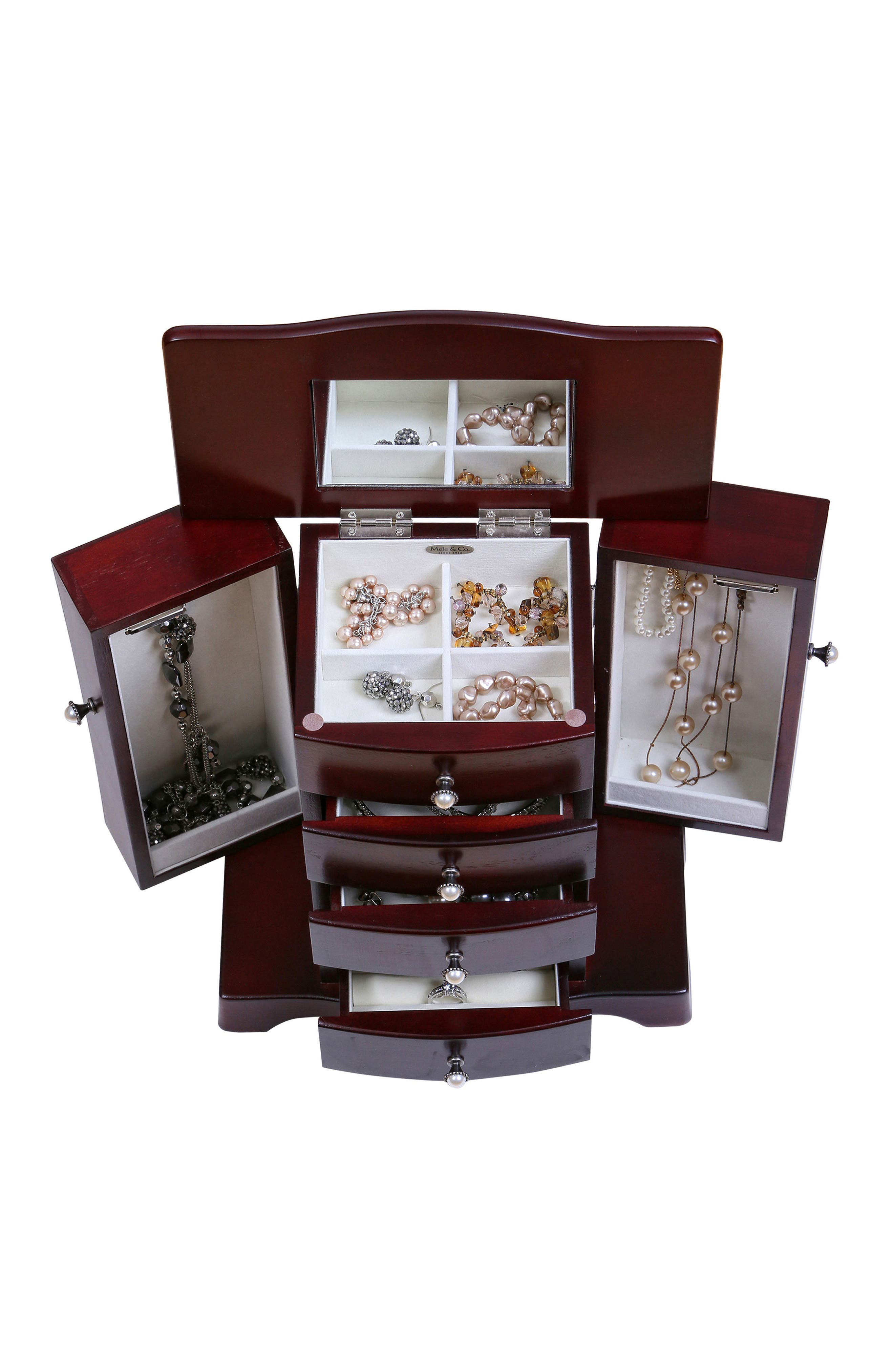 Bette Wooden Jewelry Box,                             Alternate thumbnail 5, color,                             BROWN
