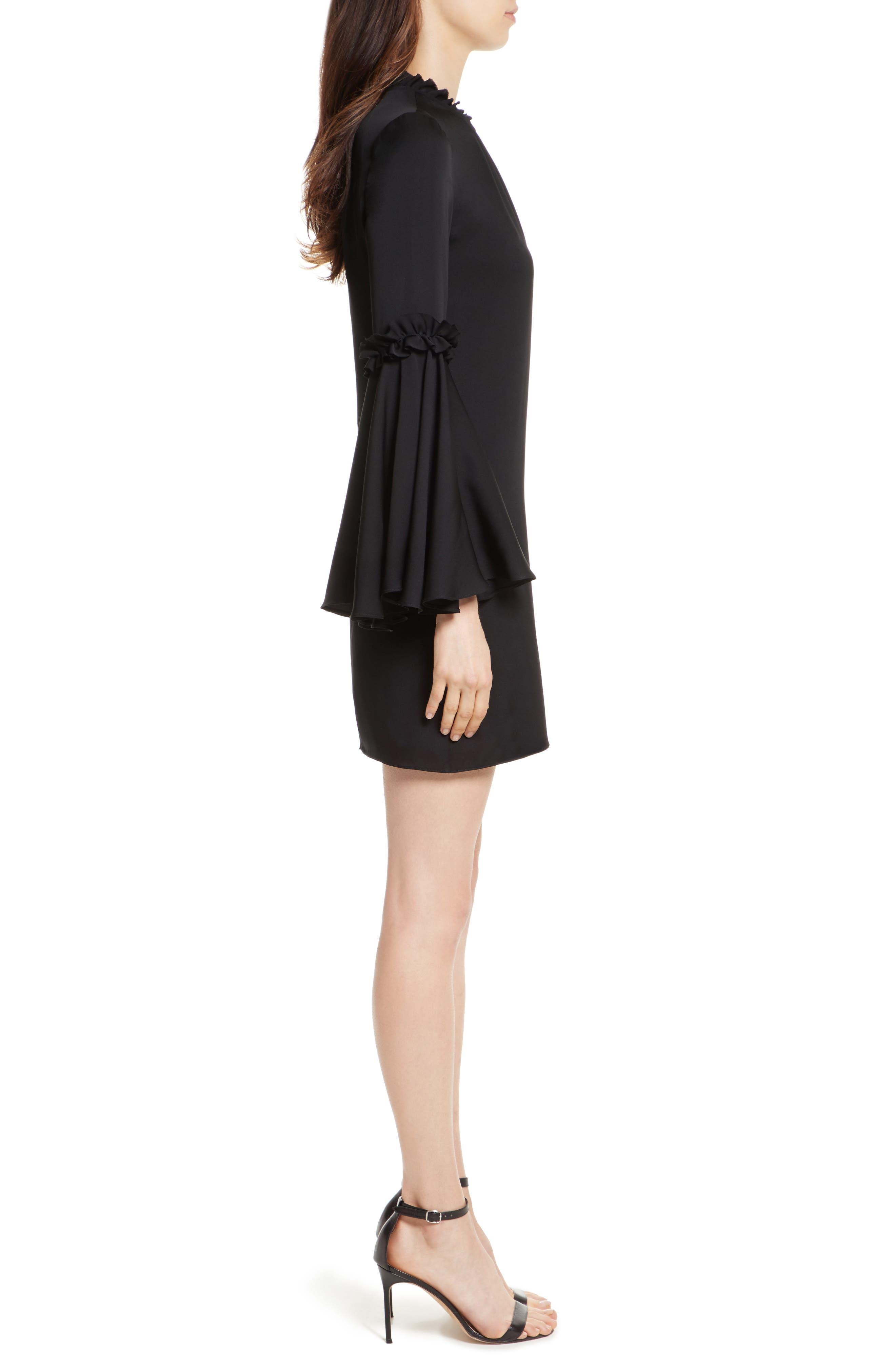 Cassie Bell Sleeve A-Line Dress,                             Alternate thumbnail 3, color,                             001