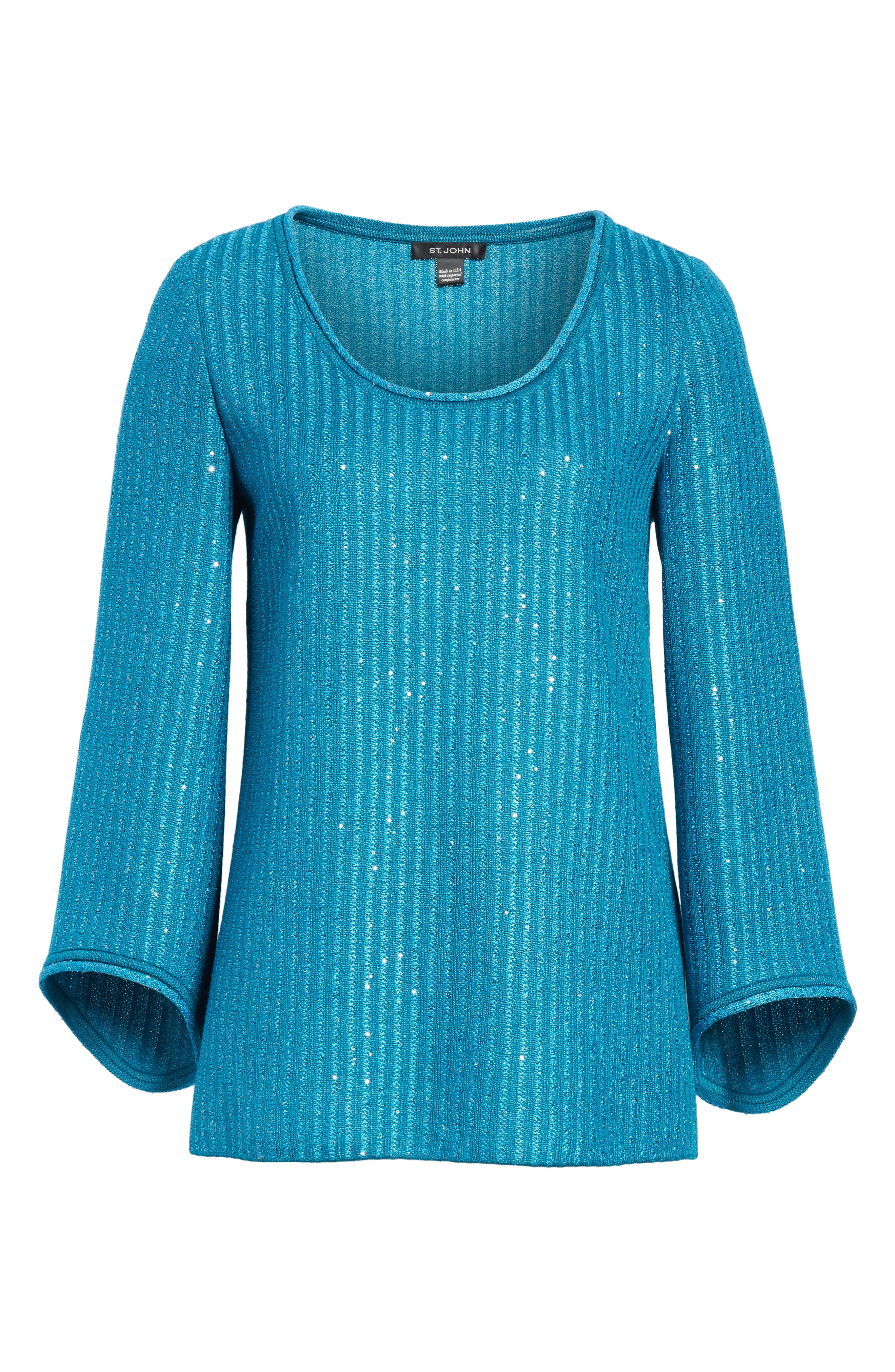 Sequin Rib Knit Sweater,                             Alternate thumbnail 7, color,                             CERULEAN