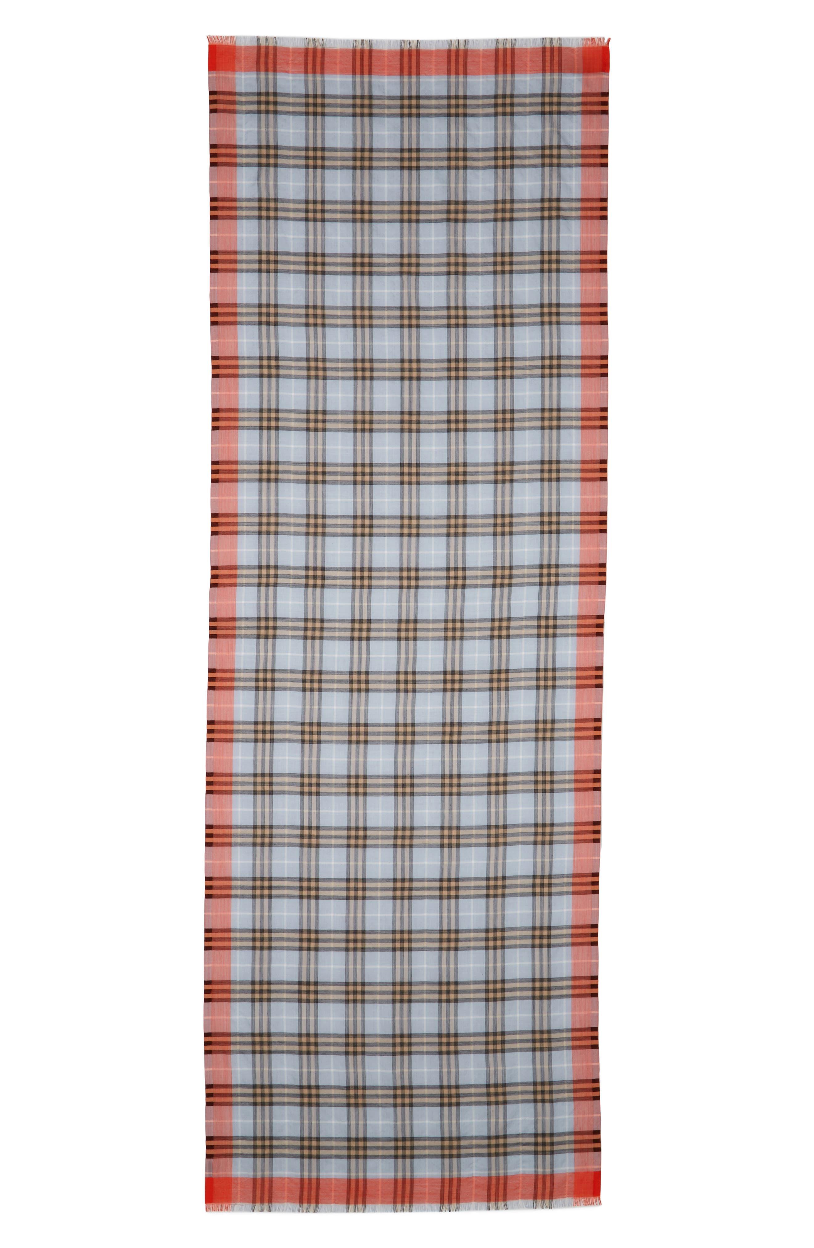 Border Vintage Check Wool & Silk Scarf,                             Main thumbnail 1, color,                             450