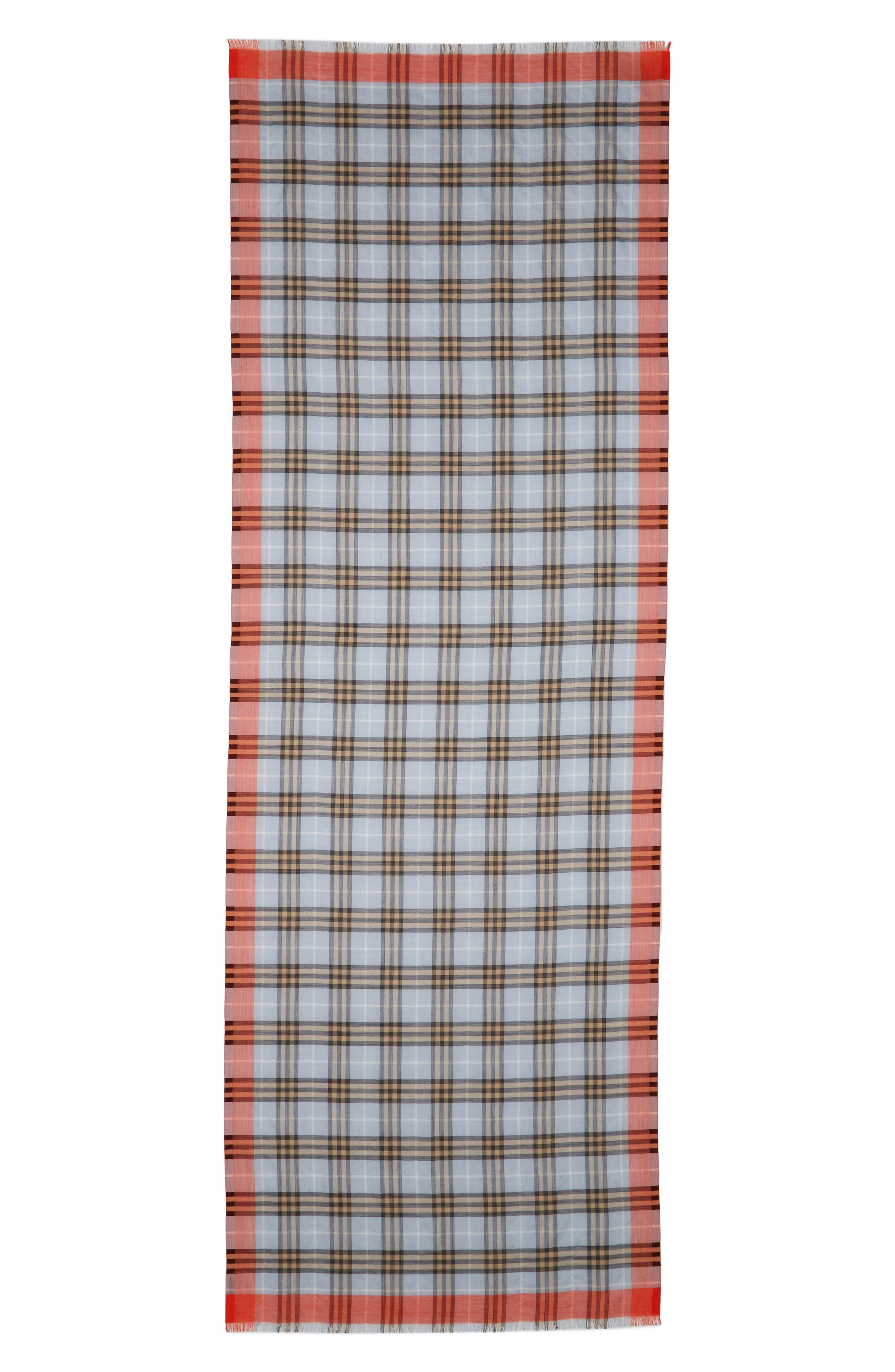 Border Vintage Check Wool & Silk Scarf,                         Main,                         color, 450