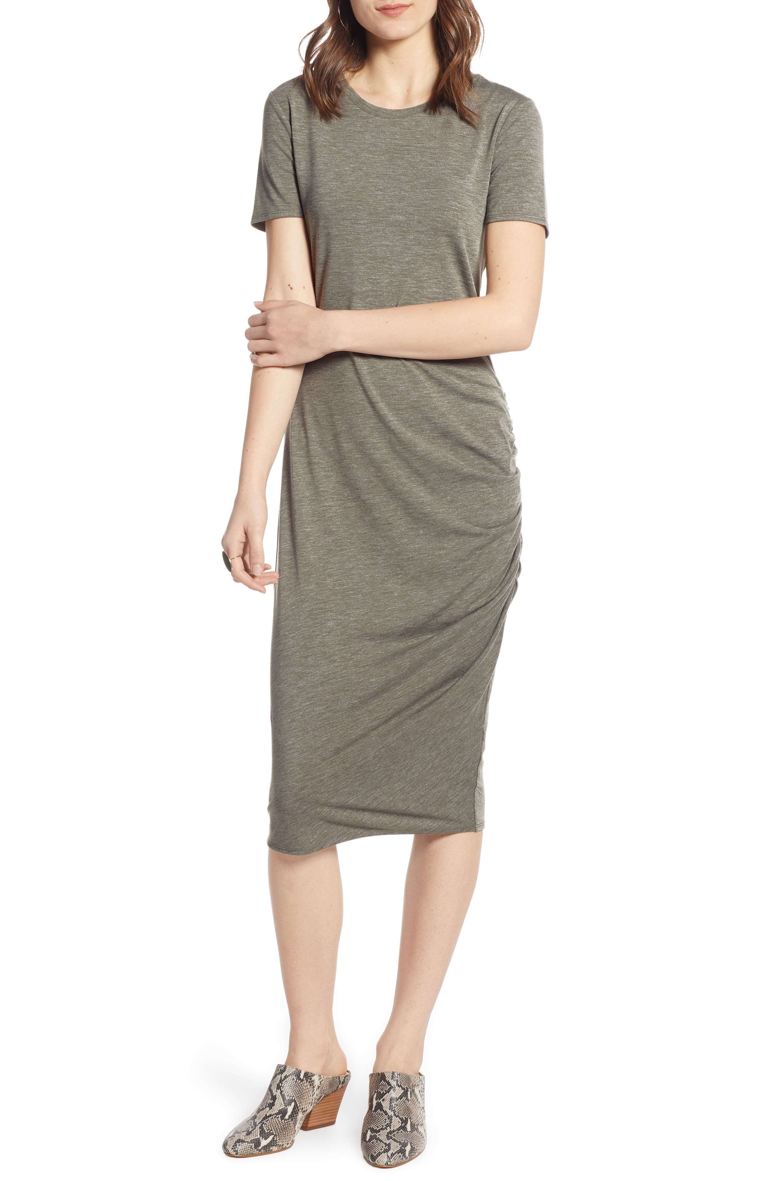 TREASURE & BOND, Side Ruched Body-Con Dress, Main thumbnail 1, color, OLIVE SARMA HEATHER