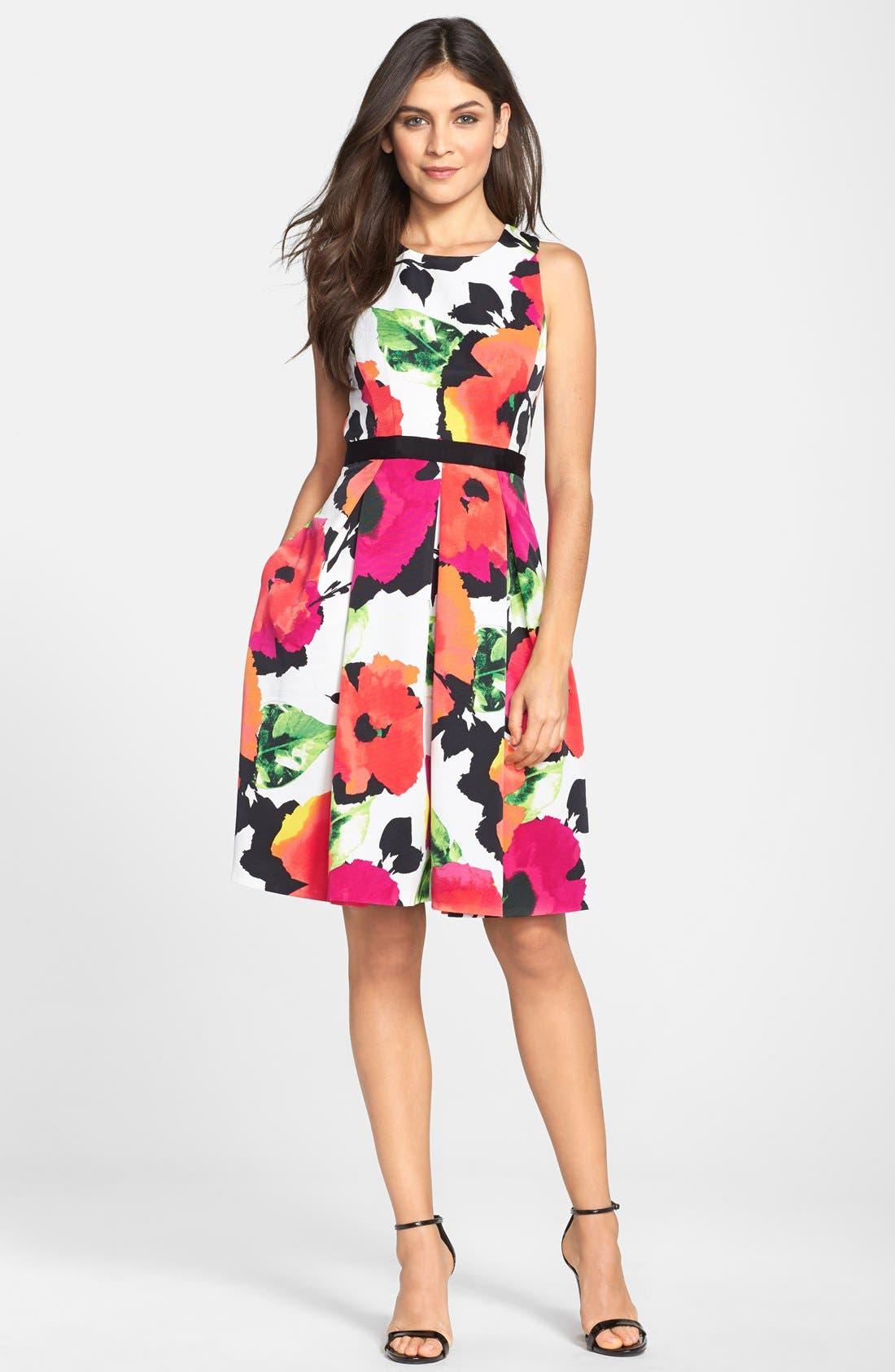 Floral Print Faille Fit & Flare Dress,                             Alternate thumbnail 2, color,                             950