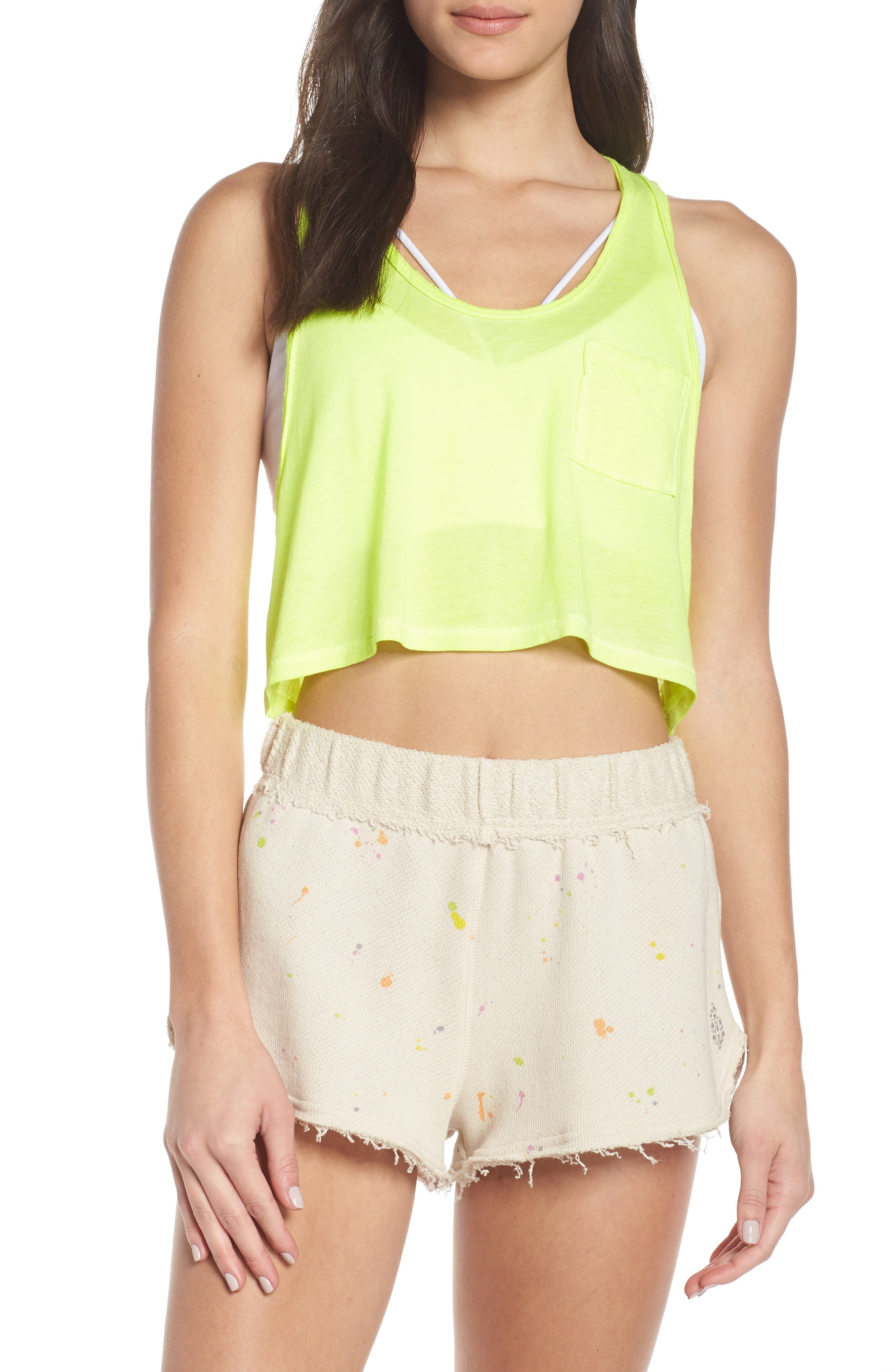 FREE PEOPLE MOVEMENT Sunny Days Cropped Tank Top, Main, color, LIME