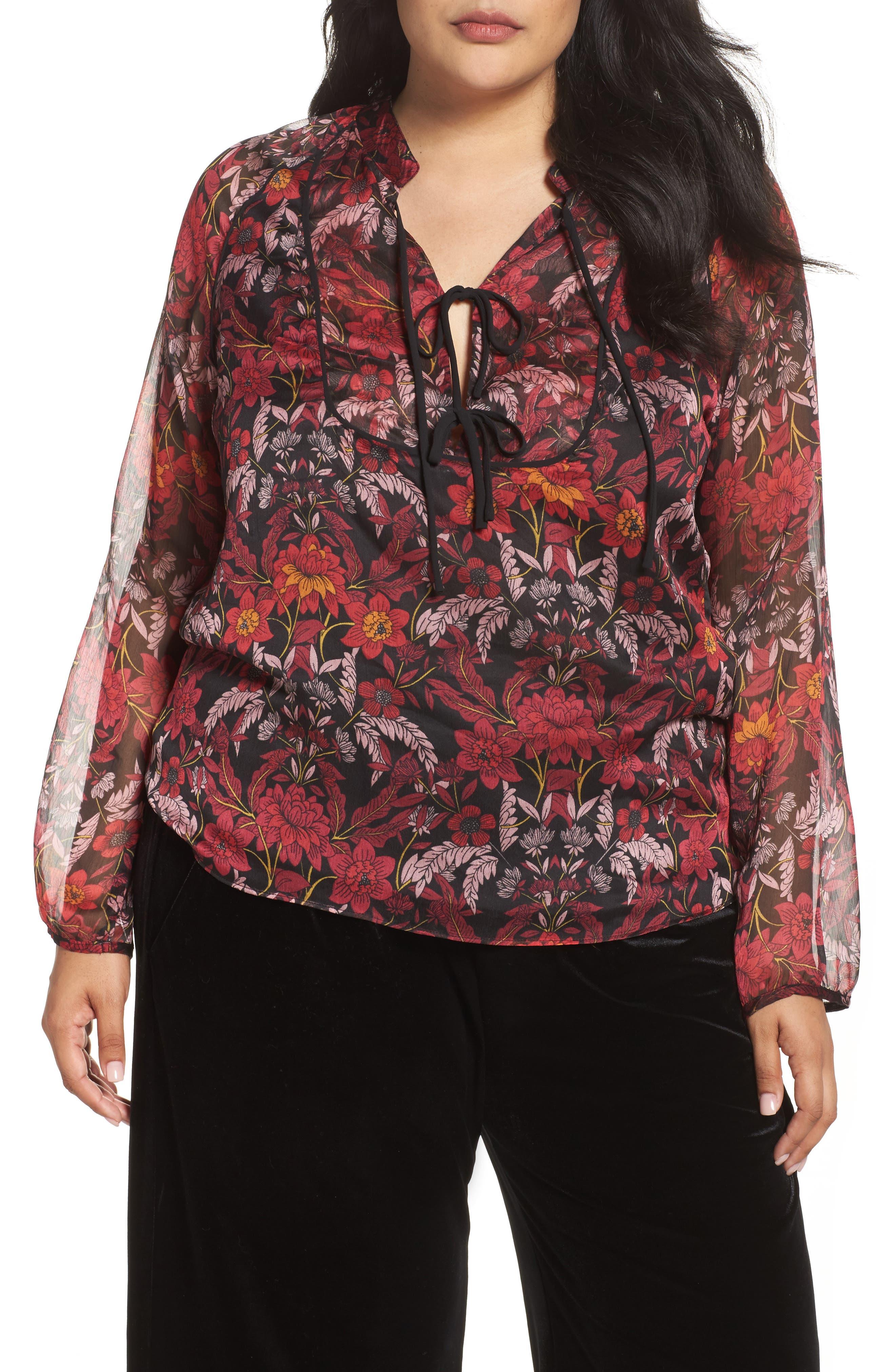 Floral Tie-Neck Blouse,                             Main thumbnail 1, color,                             930