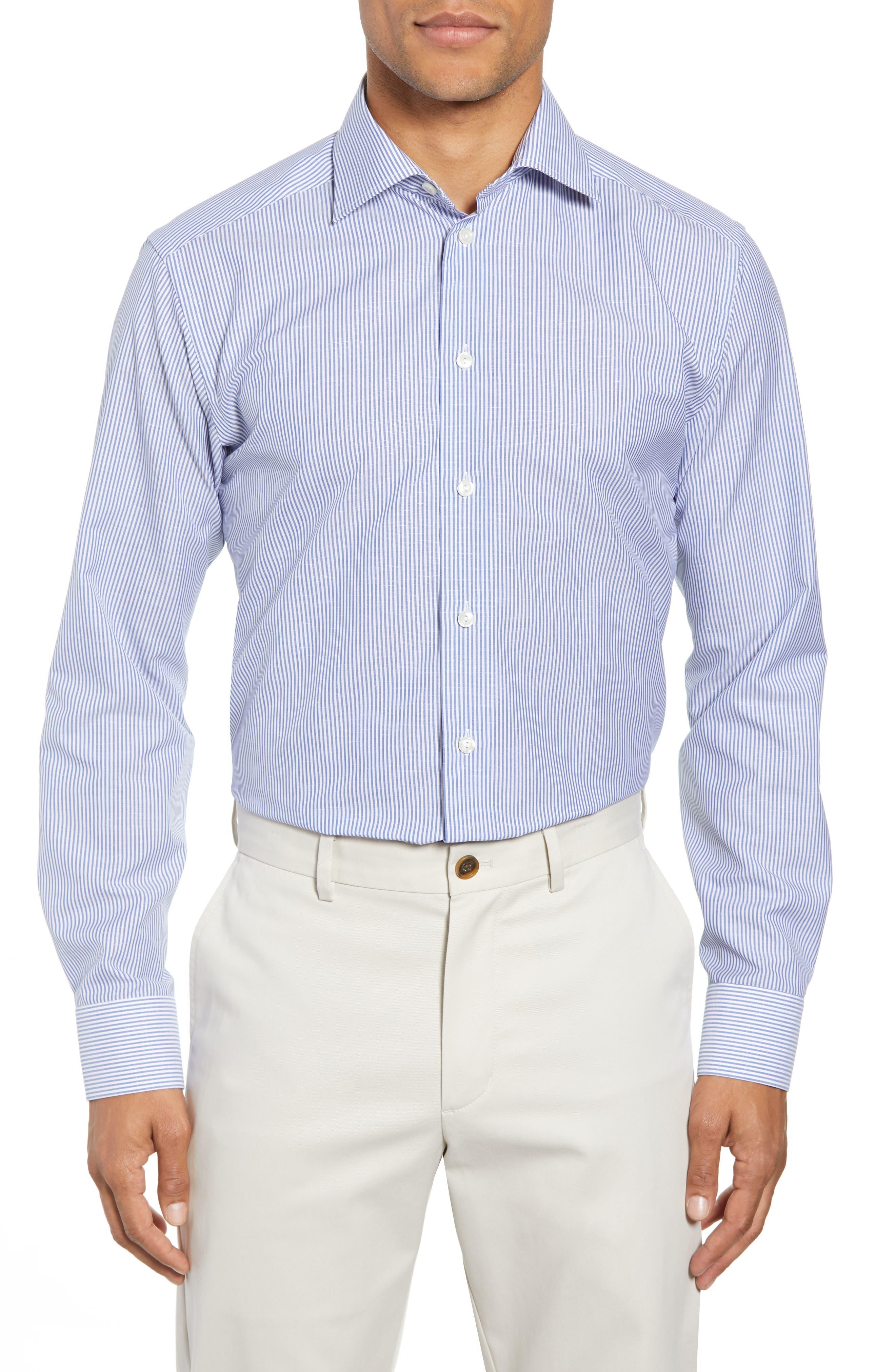 Slim Fit Stripe Dress Shirt,                             Main thumbnail 1, color,