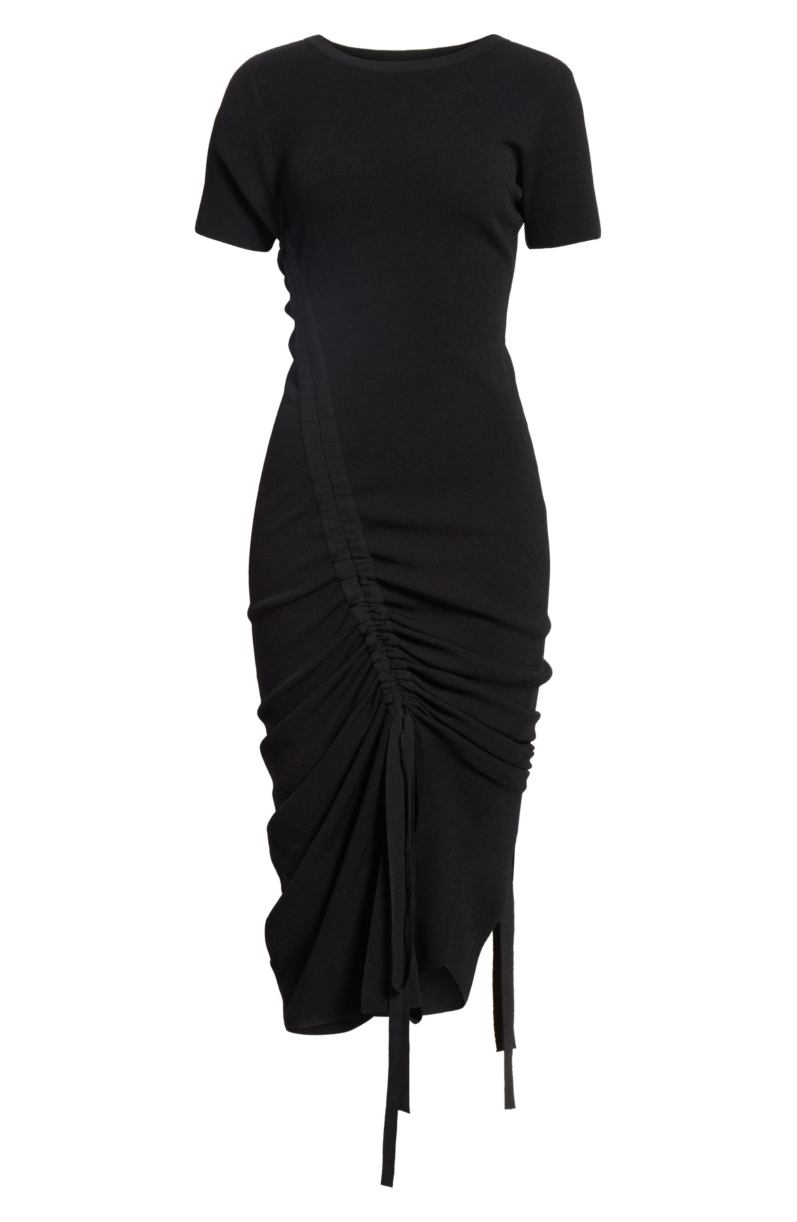 Ruched Midi Dress,                             Alternate thumbnail 6, color,                             001