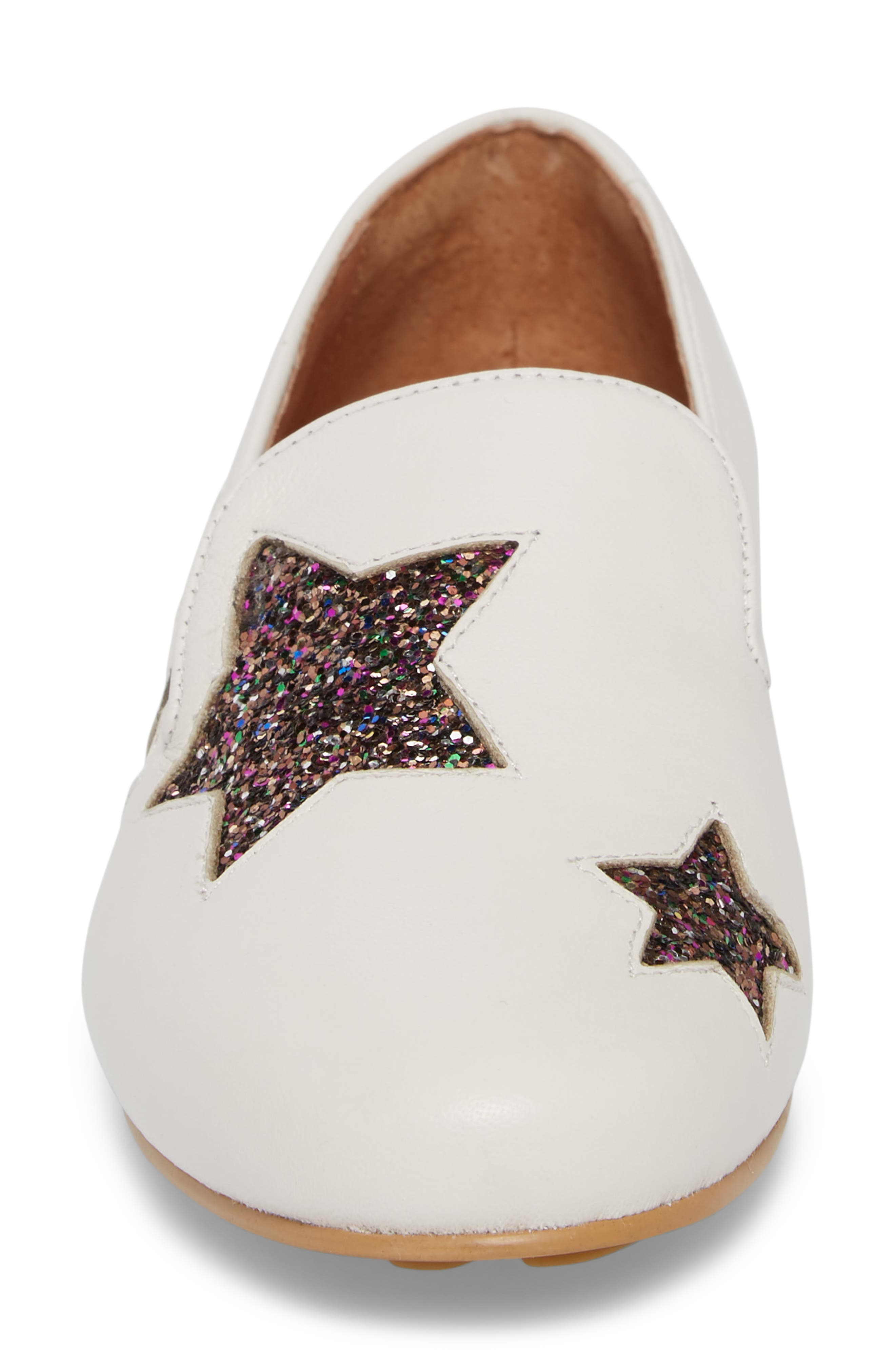 Eugene Stars Flat,                             Alternate thumbnail 4, color,                             WHITE STARS LEATHER