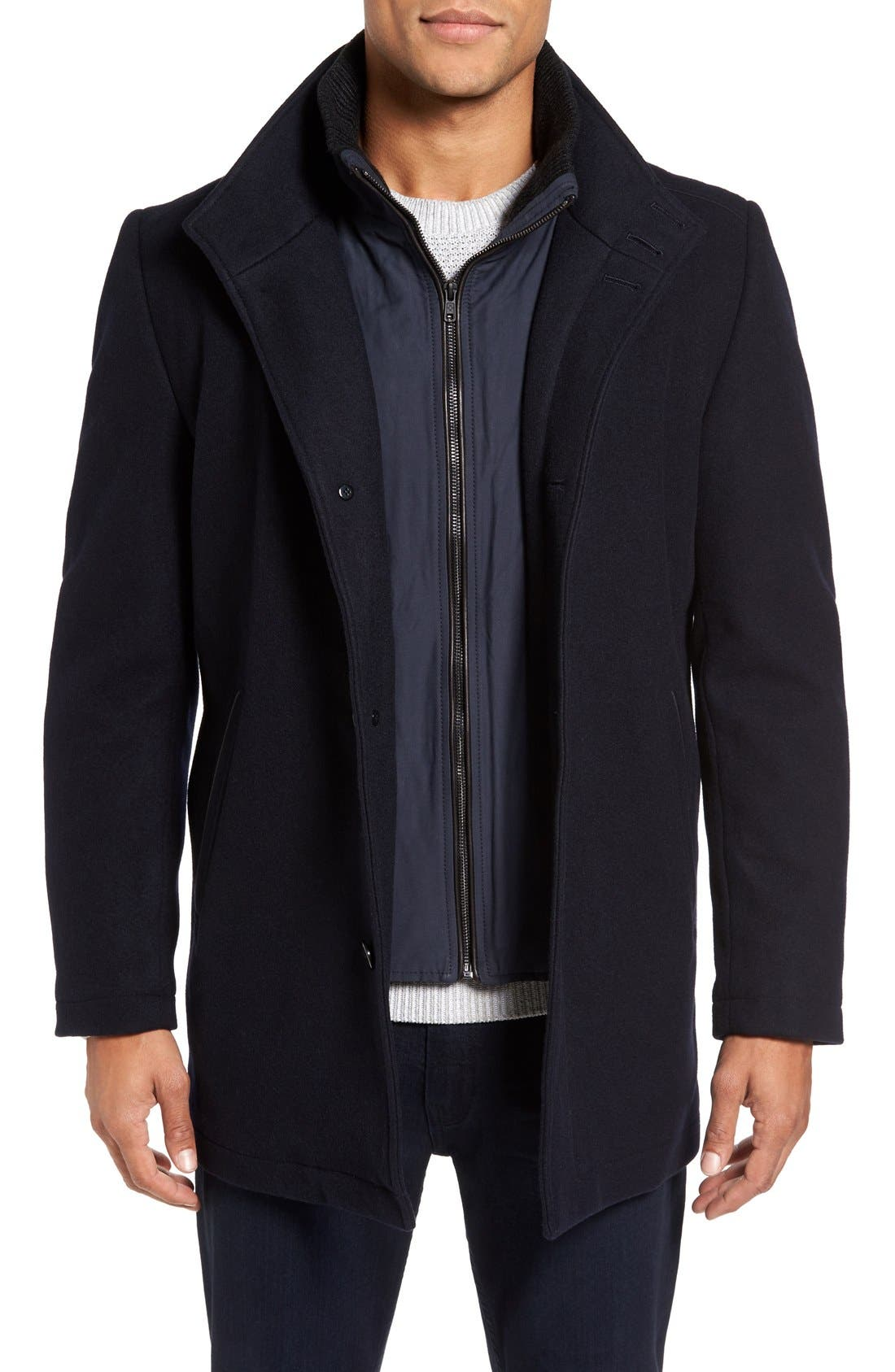 VINCE CAMUTO,                             Classic Wool Blend Car Coat with Inset Bib,                             Main thumbnail 1, color,                             NAVY