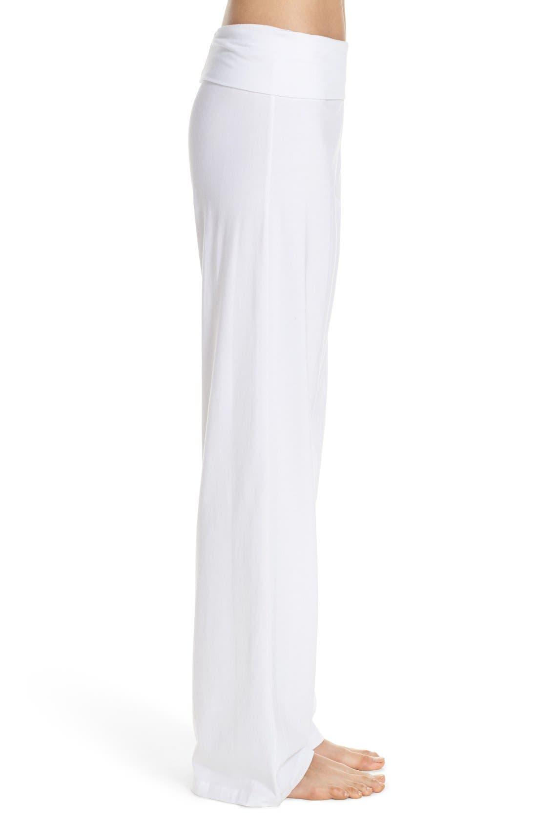 Wide Leg Stretch Cotton Pajama Pants,                             Alternate thumbnail 4, color,                             WHITE