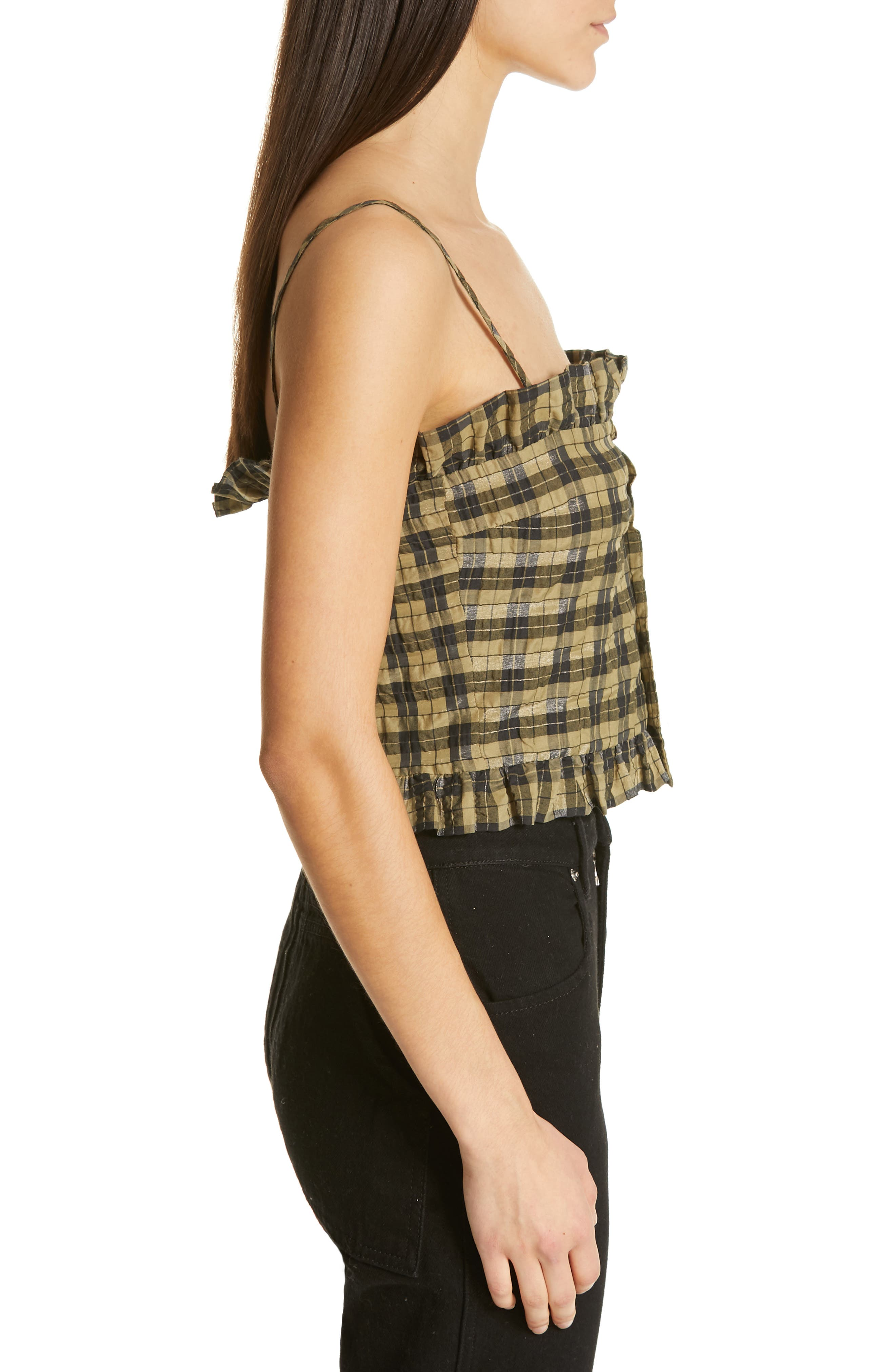 Seersucker Check Sleeveless Top,                             Alternate thumbnail 3, color,                             ALOE