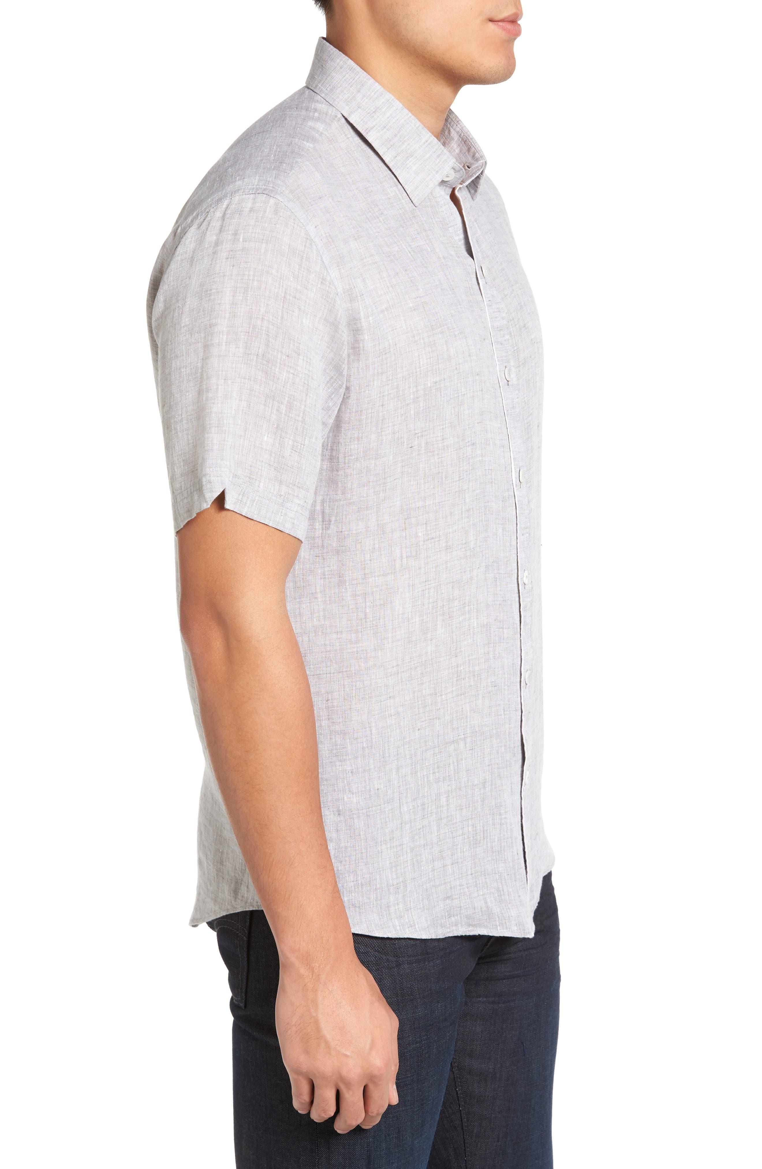 Kaplan Slim Fit Linen Sport Shirt,                             Alternate thumbnail 3, color,                             020