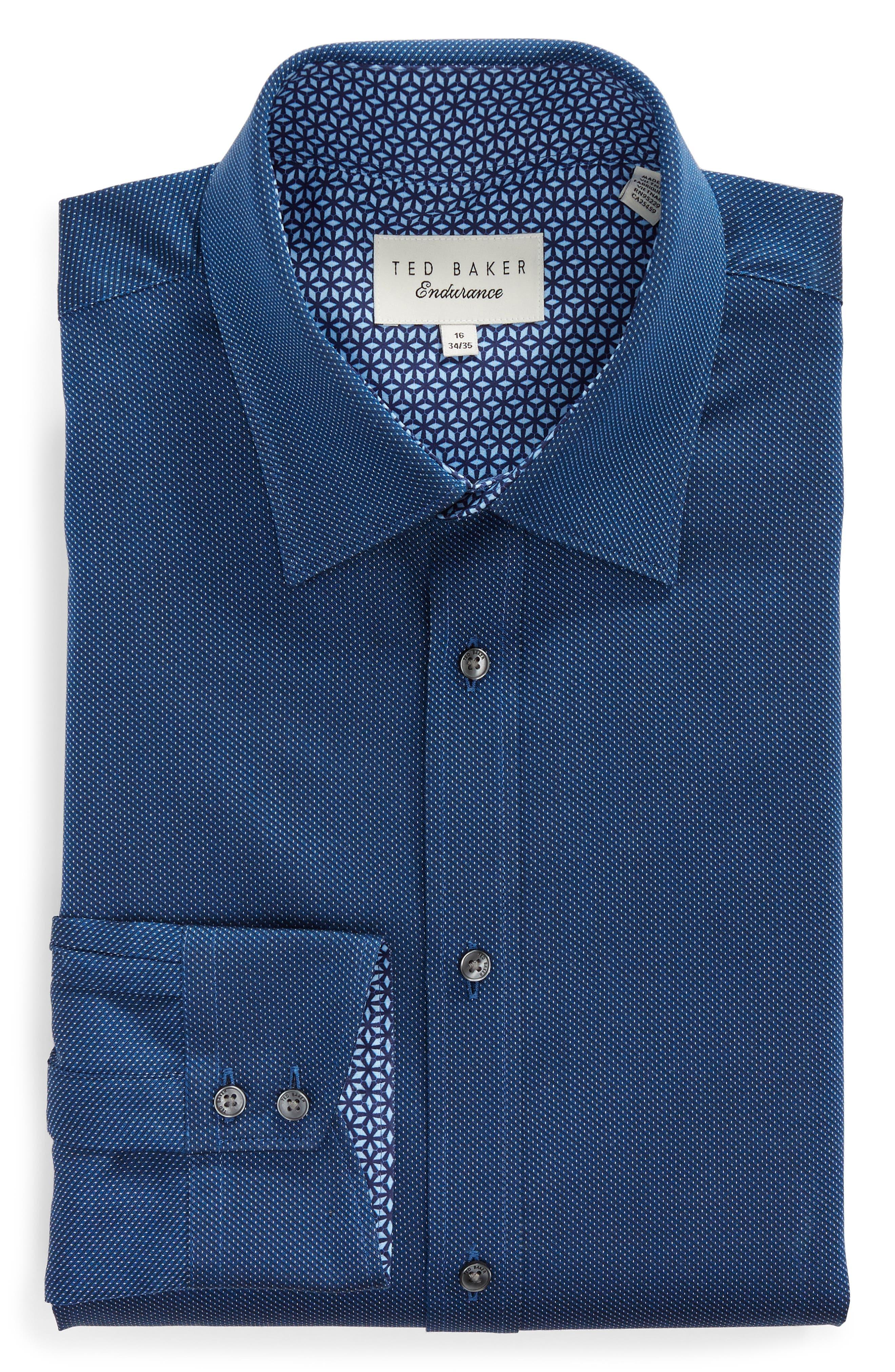 TED BAKER LONDON,                             Wikks Slim Fit Print Dress Shirt,                             Alternate thumbnail 5, color,                             410