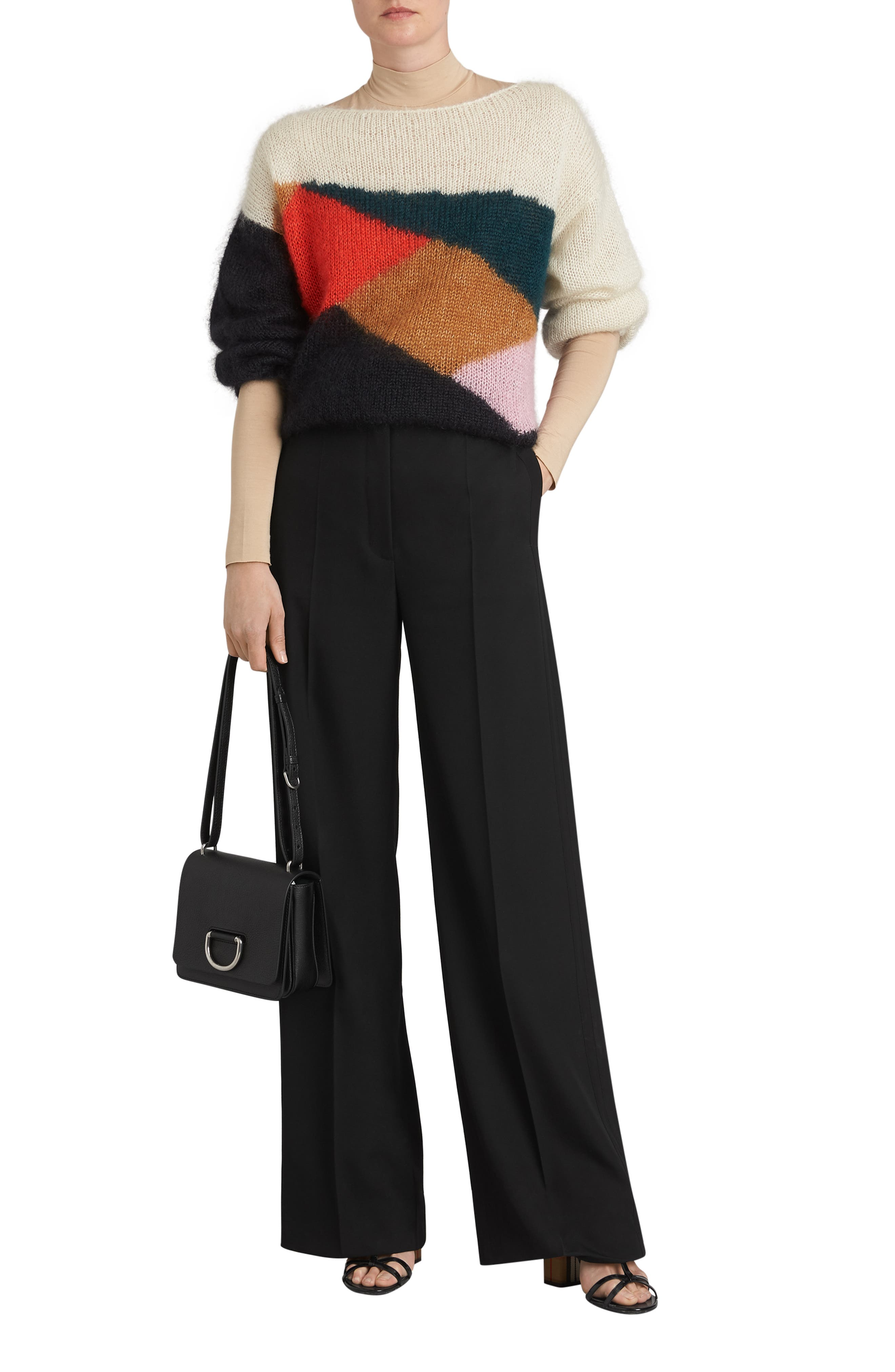 Small D-Ring Leather Crossbody Bag,                             Alternate thumbnail 2, color,                             BLACK