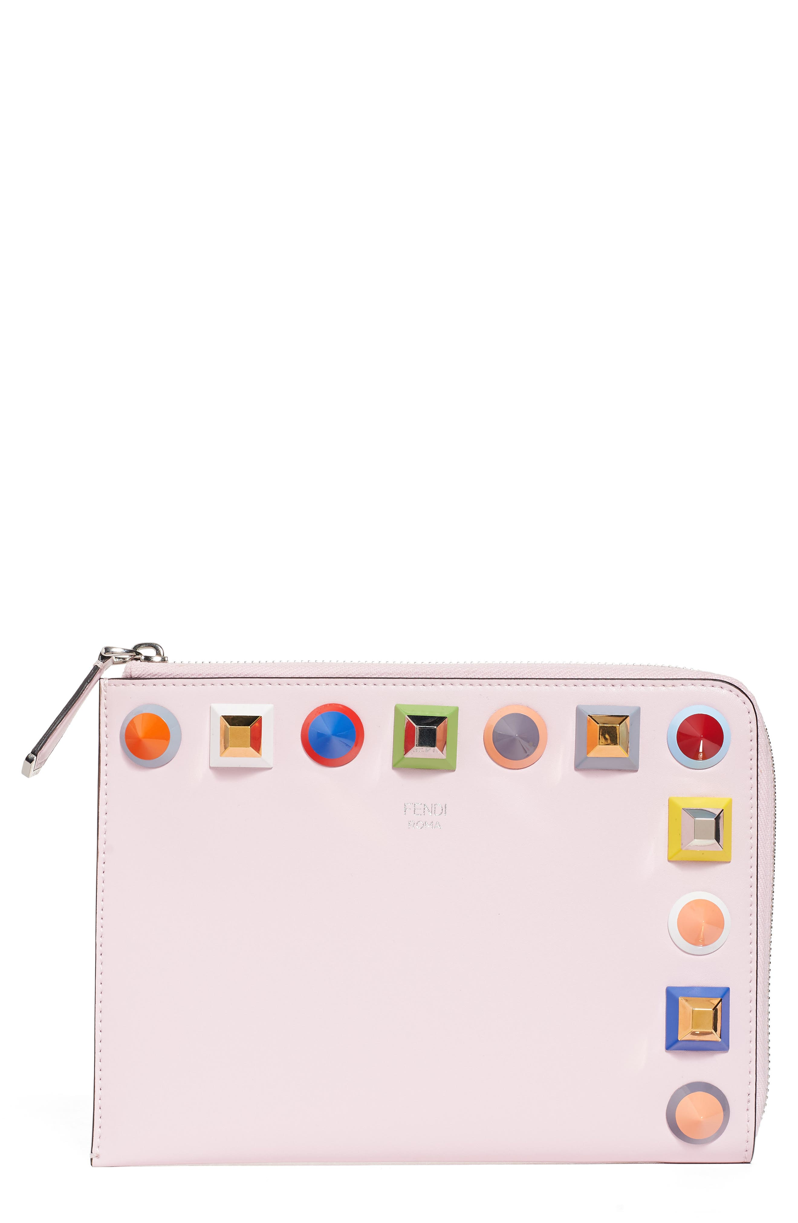 Small Multistud Leather Pouch,                             Alternate thumbnail 2, color,                             687