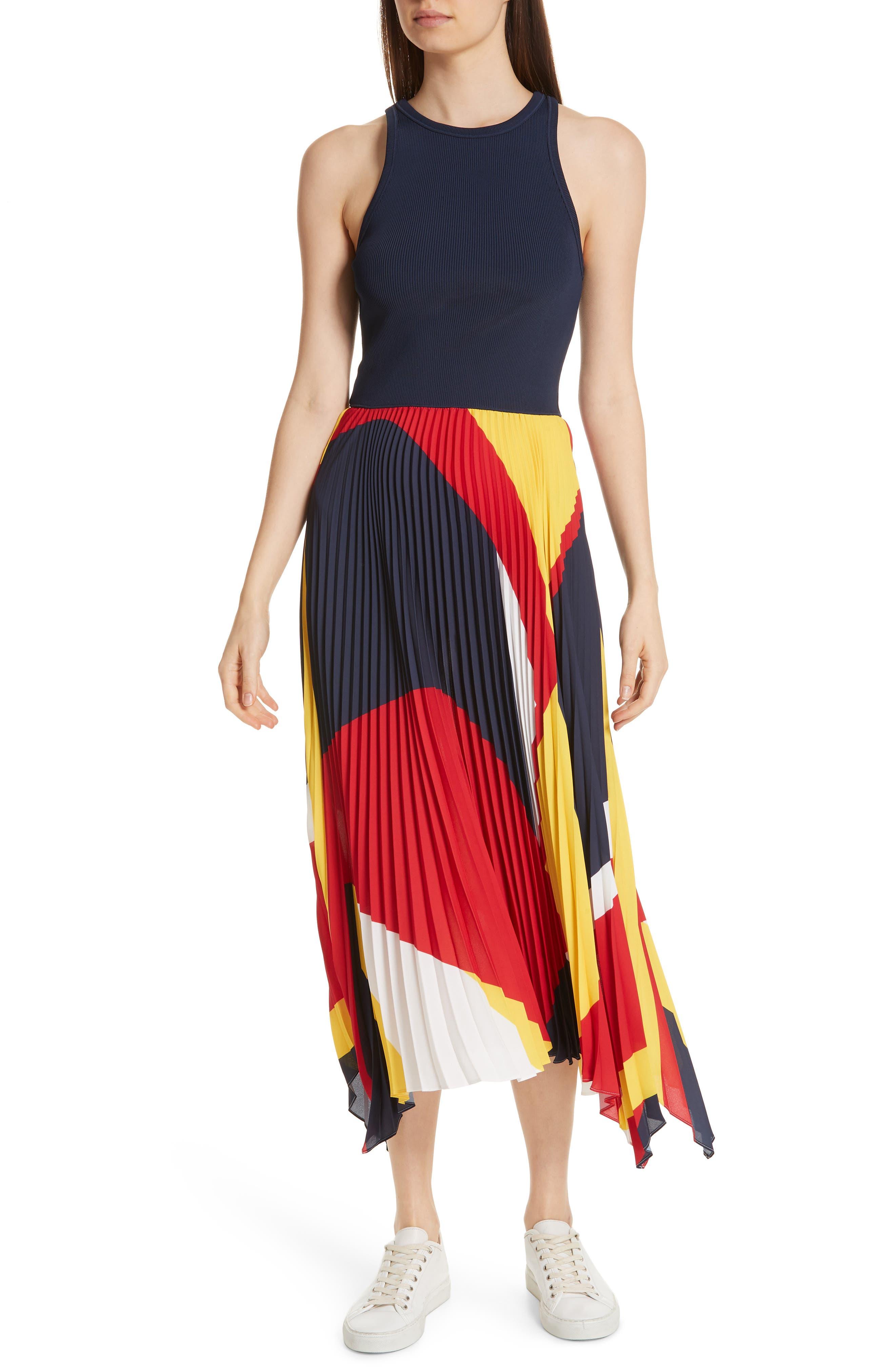 Alyah Mixed Media Dress, Main, color, 410