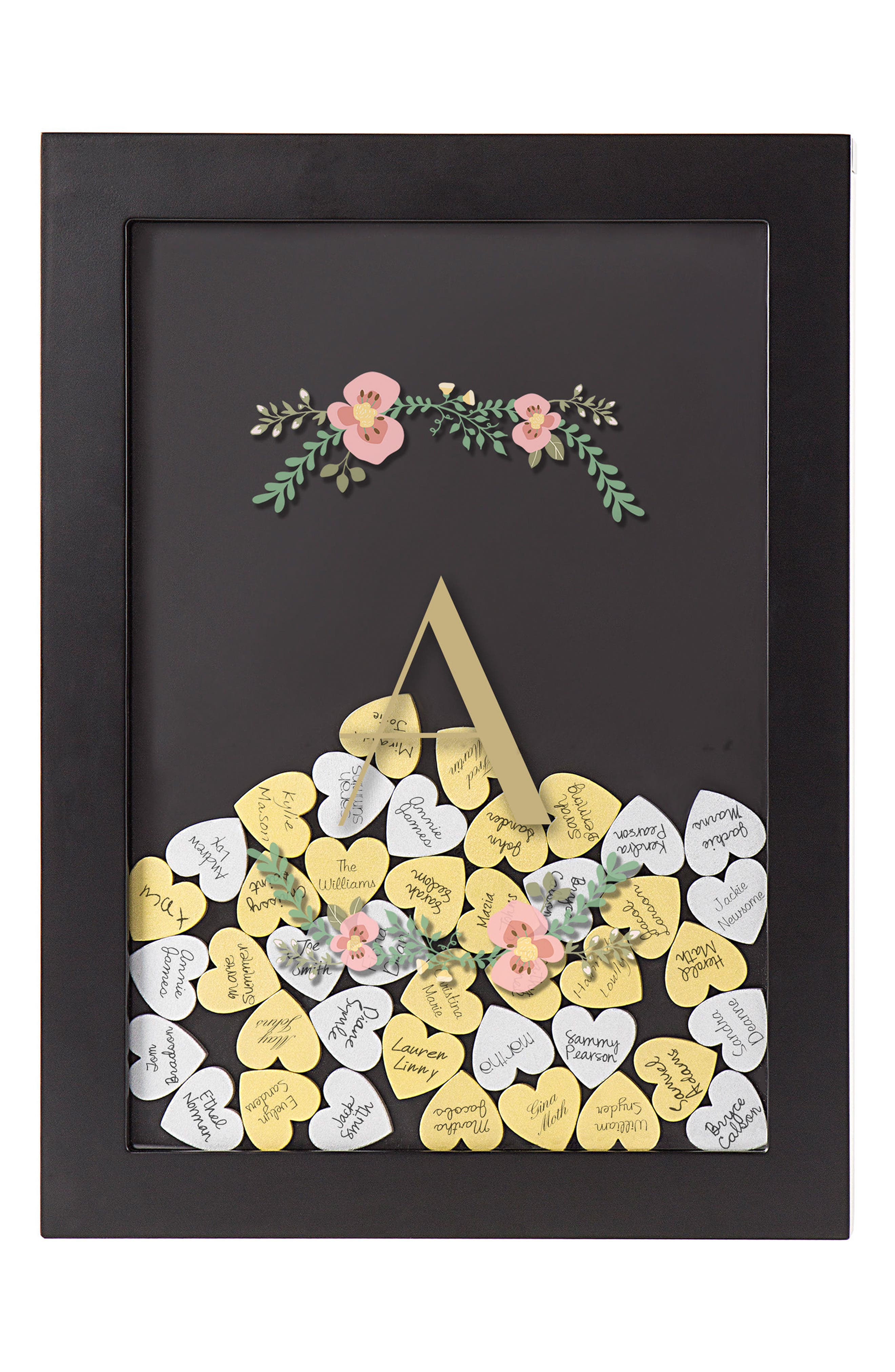 Monogram Heart Drop Guestbook,                         Main,                         color,
