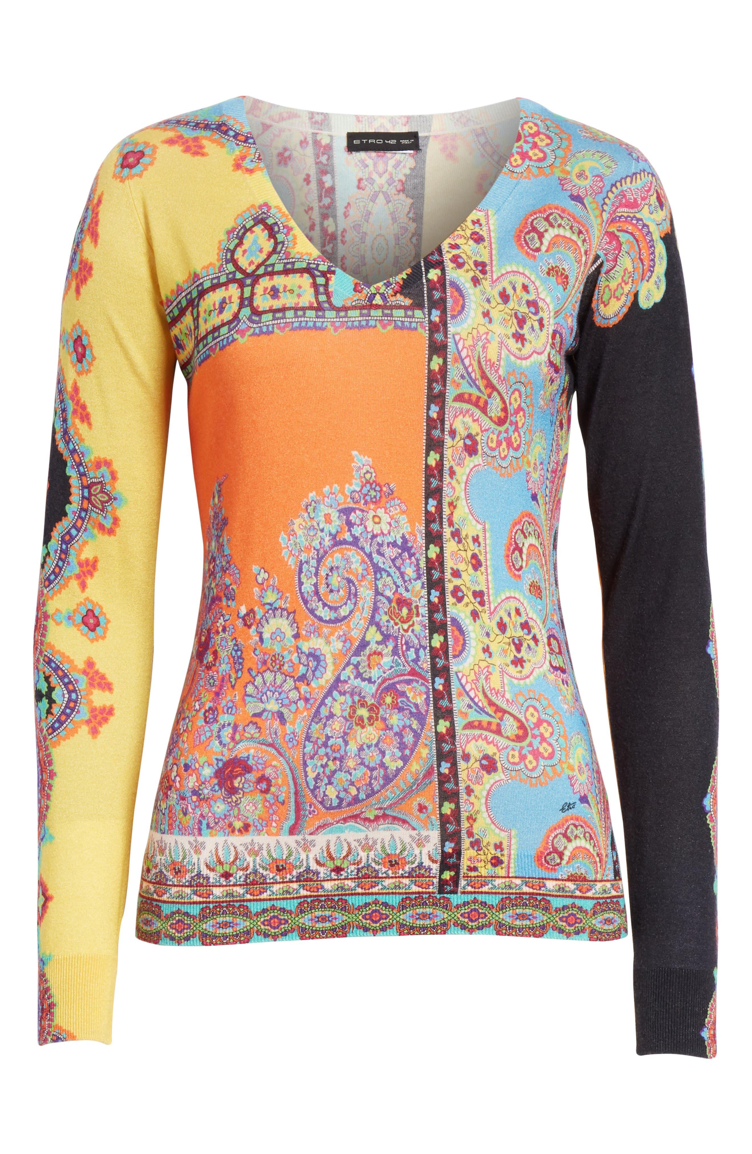 Harlem Paisley Silk & Cashmere Sweater,                             Alternate thumbnail 6, color,                             800