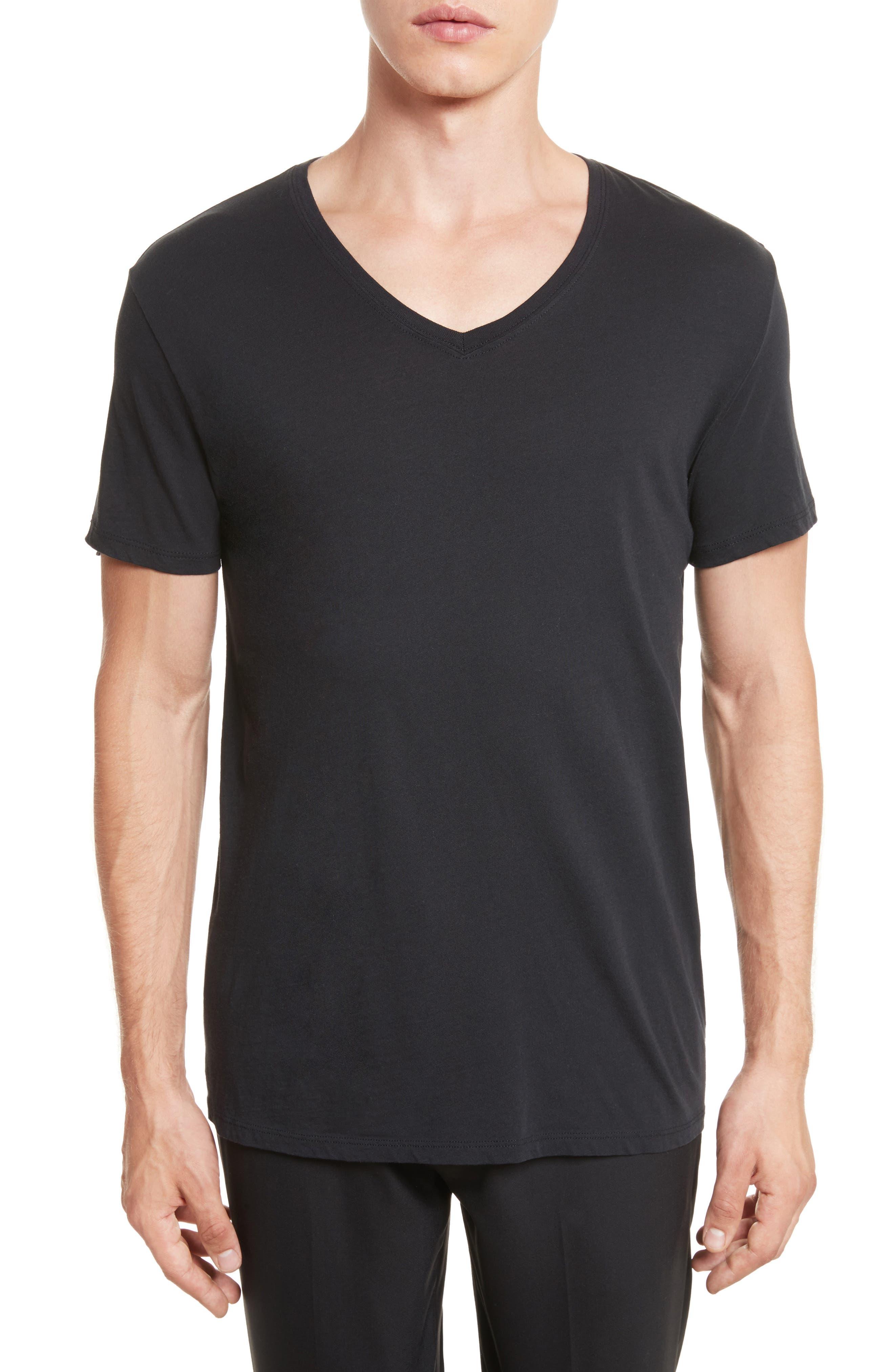 Cotton Jersey V-Neck T-Shirt,                         Main,                         color, 001