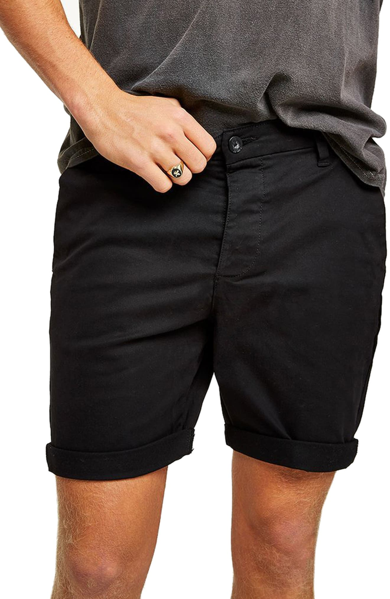 TOPMAN,                             Skinny Fit Chino Shorts,                             Alternate thumbnail 3, color,                             BLACK