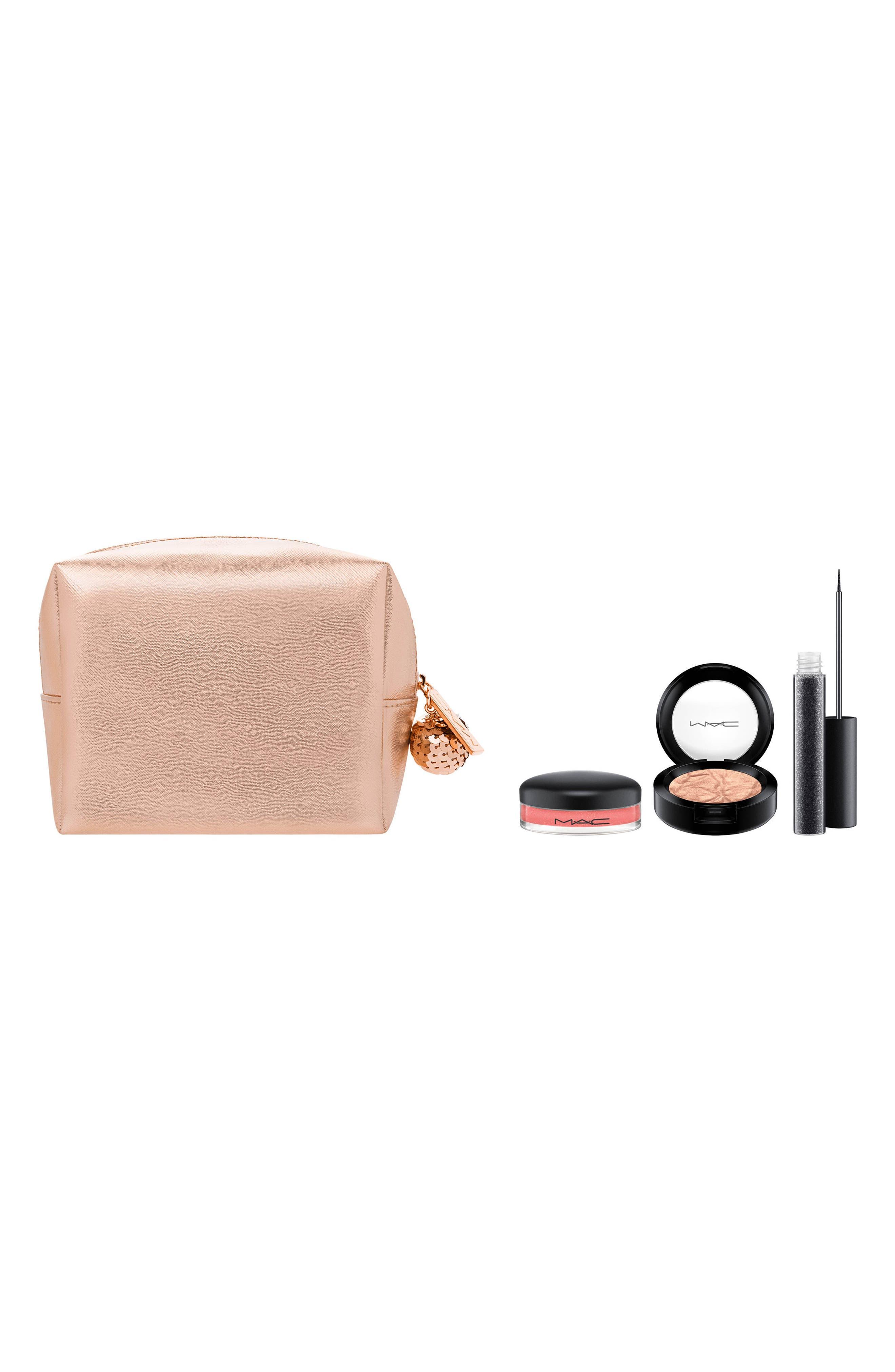 MAC Snow Ball Rose Gold Eye & Lip Bag,                             Main thumbnail 1, color,                             710