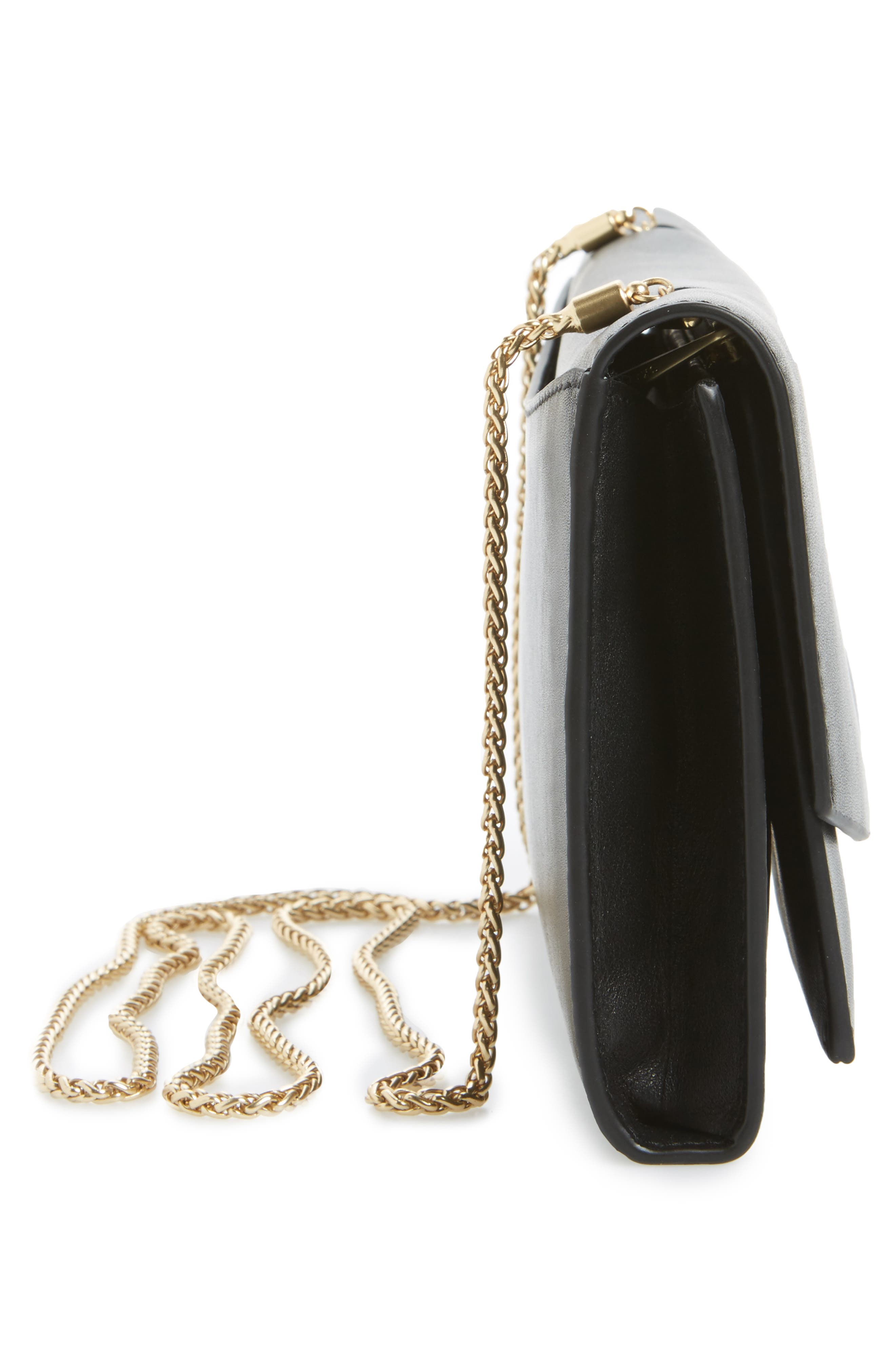 Eryka Leather Envelope Clutch with Detachable Chain,                             Alternate thumbnail 5, color,                             001