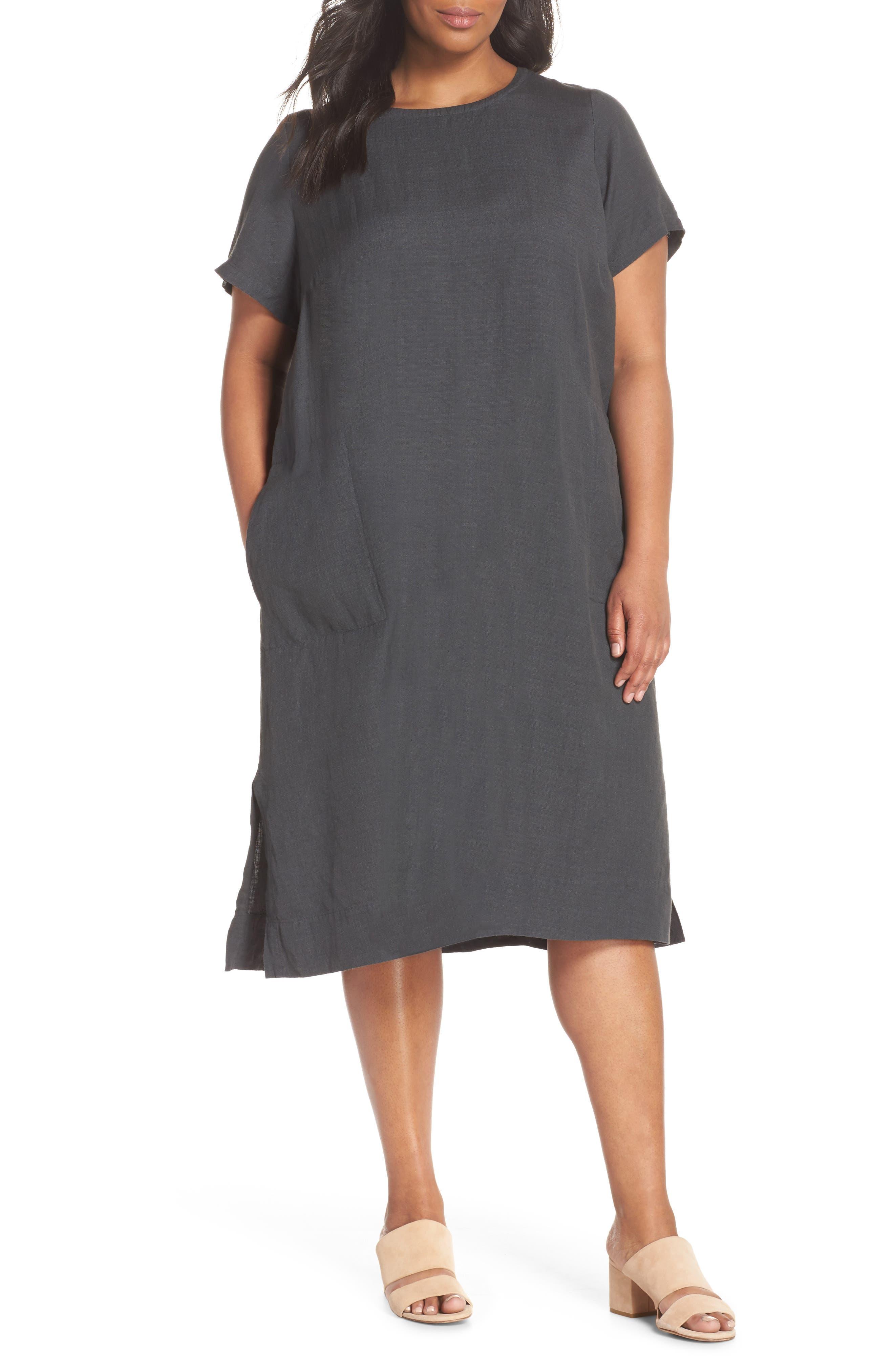 EILEEN FISHER Linen Blend Shift Dress, Main, color, 025