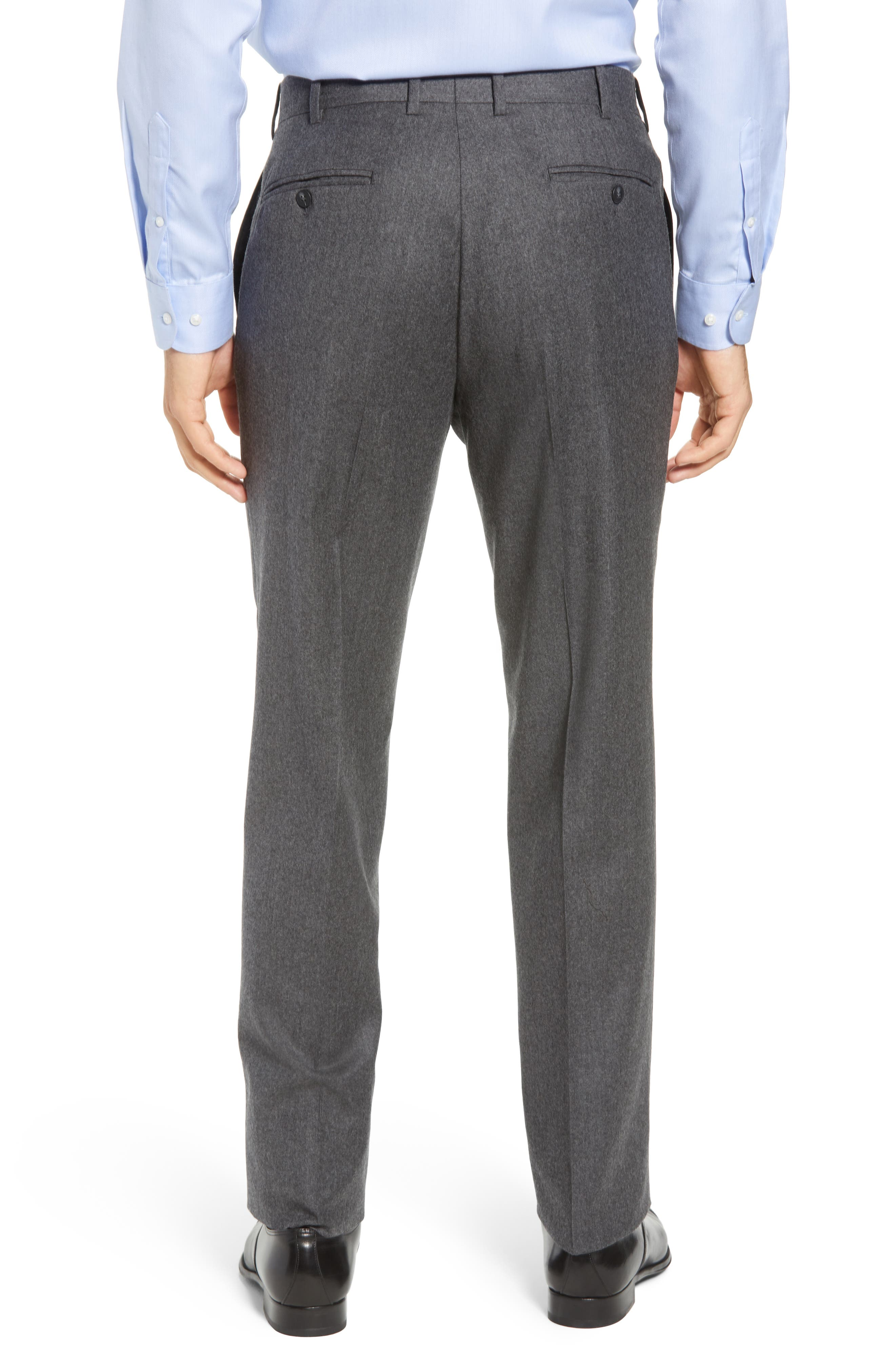 Torino Traditional Fit Flat Front Solid Wool & Cashmere Trousers,                             Alternate thumbnail 2, color,                             MID GREY