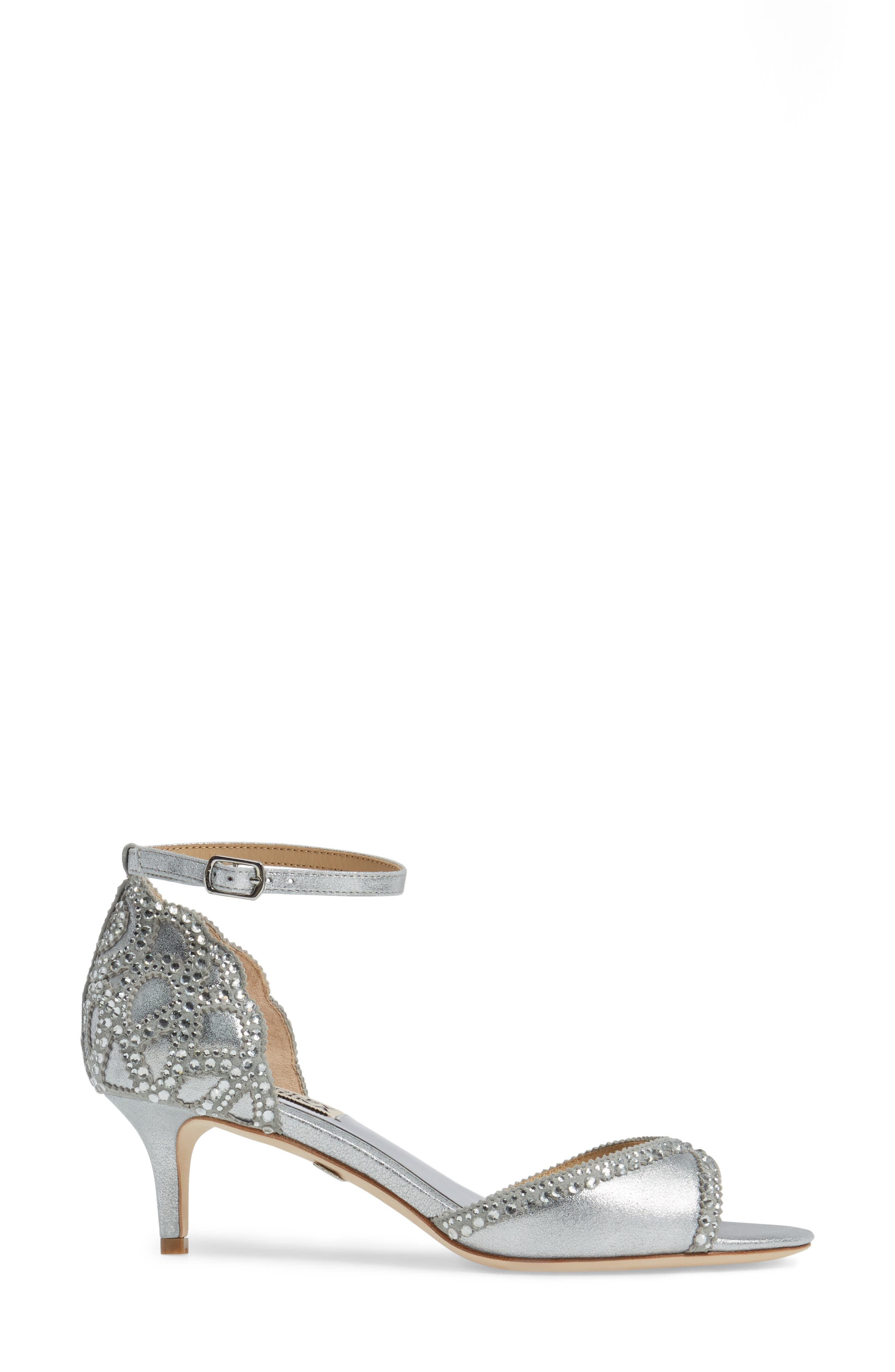 'Gillian' Crystal Embellished d'Orsay Sandal,                             Alternate thumbnail 3, color,                             SILVER METALLIC SUEDE