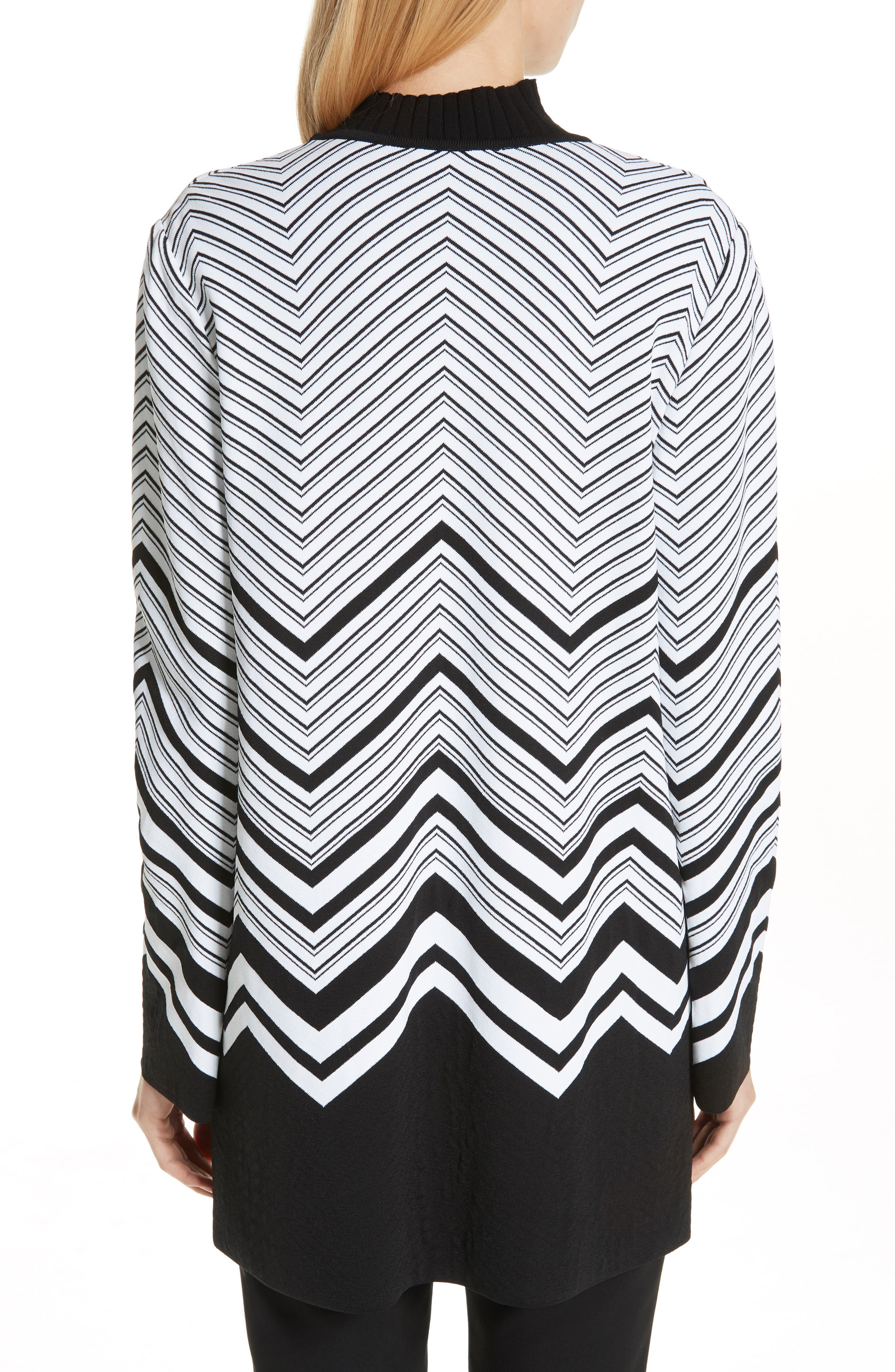 Chevron Jacquard Sweater Jacket,                             Alternate thumbnail 2, color,                             CAVIAR/ WHITE