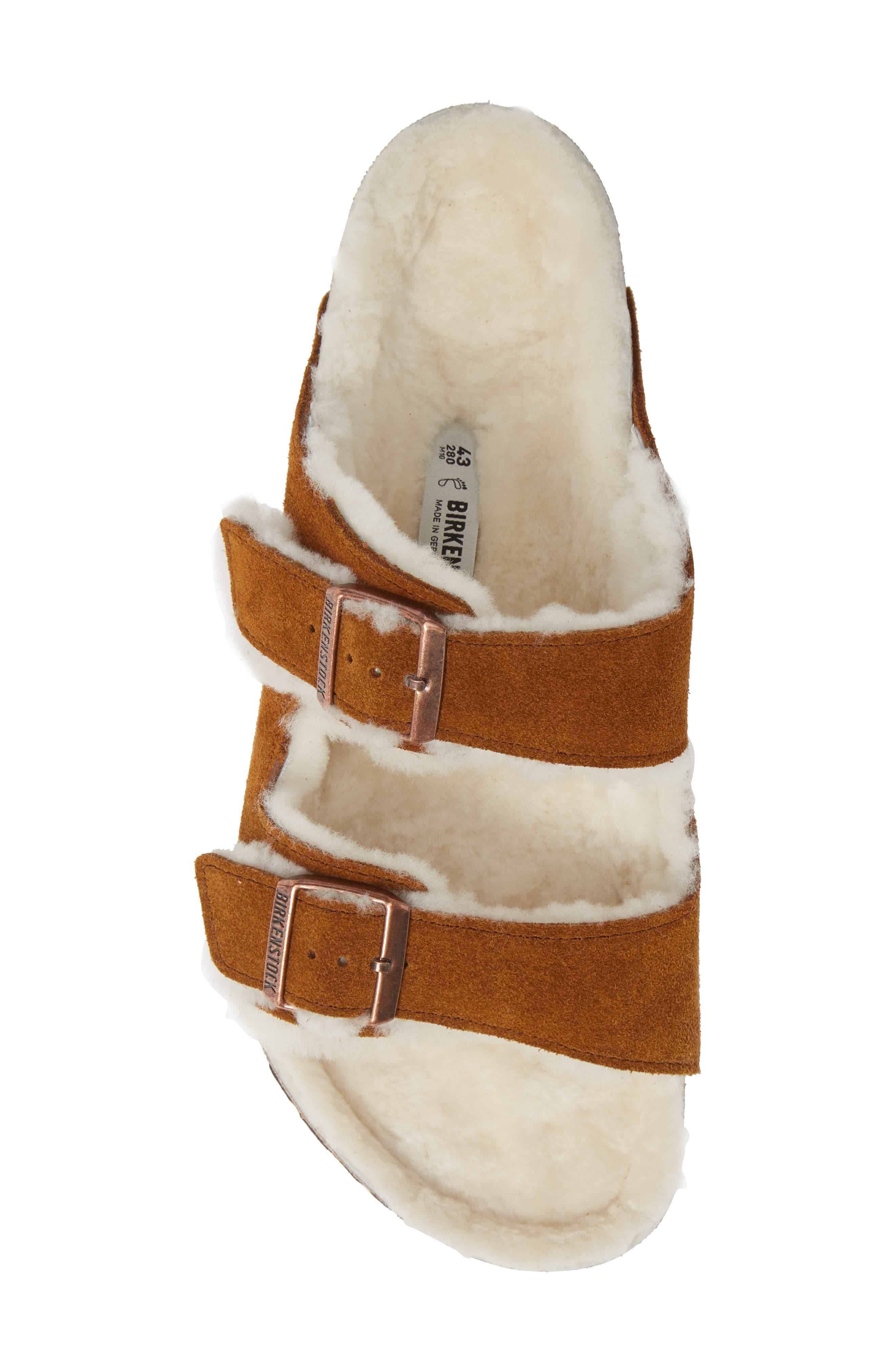 Arizona Slide Sandal with Genuine Shearling,                             Alternate thumbnail 5, color,                             BEIGE