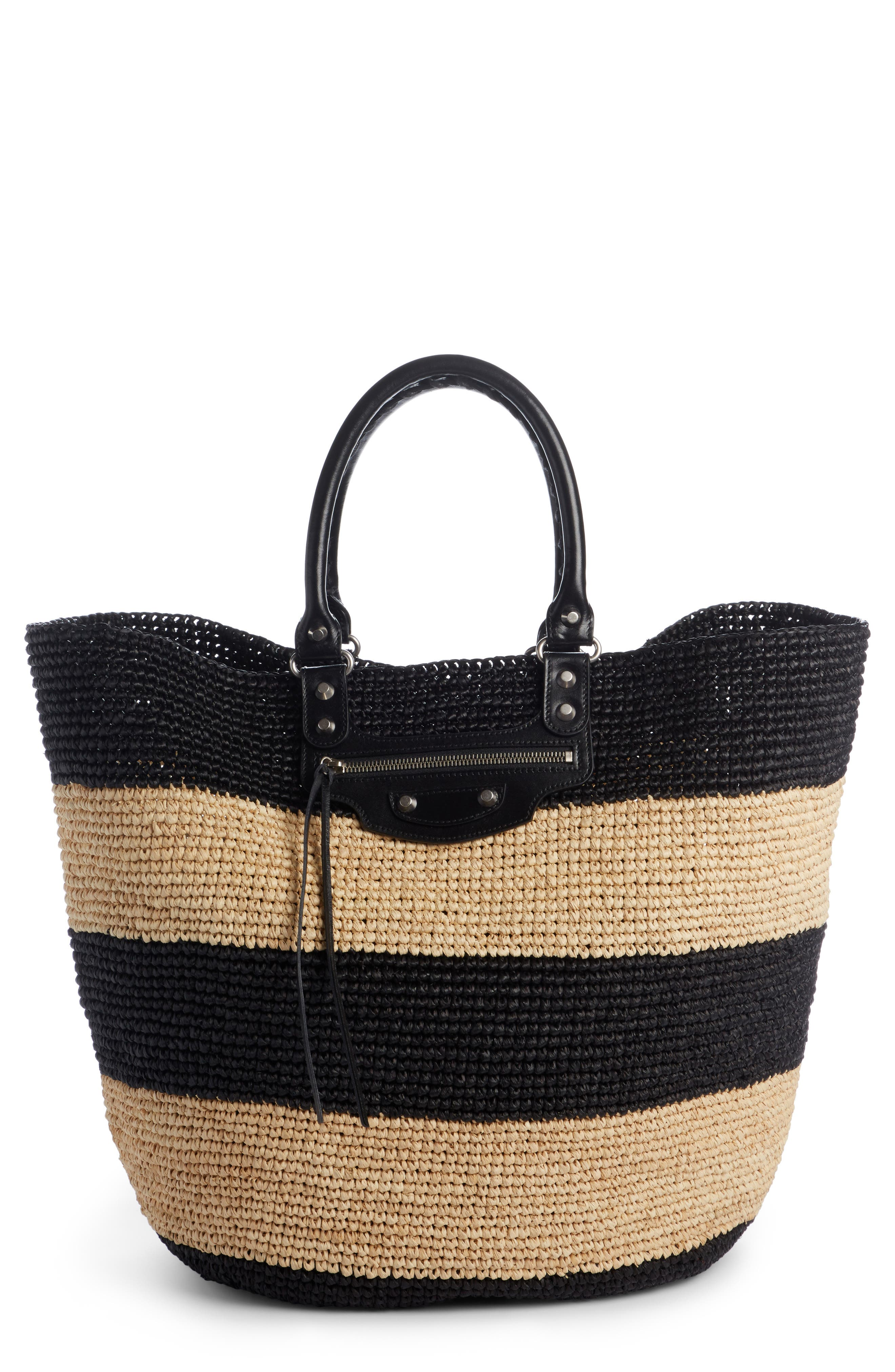 Large Panier Woven Tote with Calfskin Leather Trim,                         Main,                         color, 250