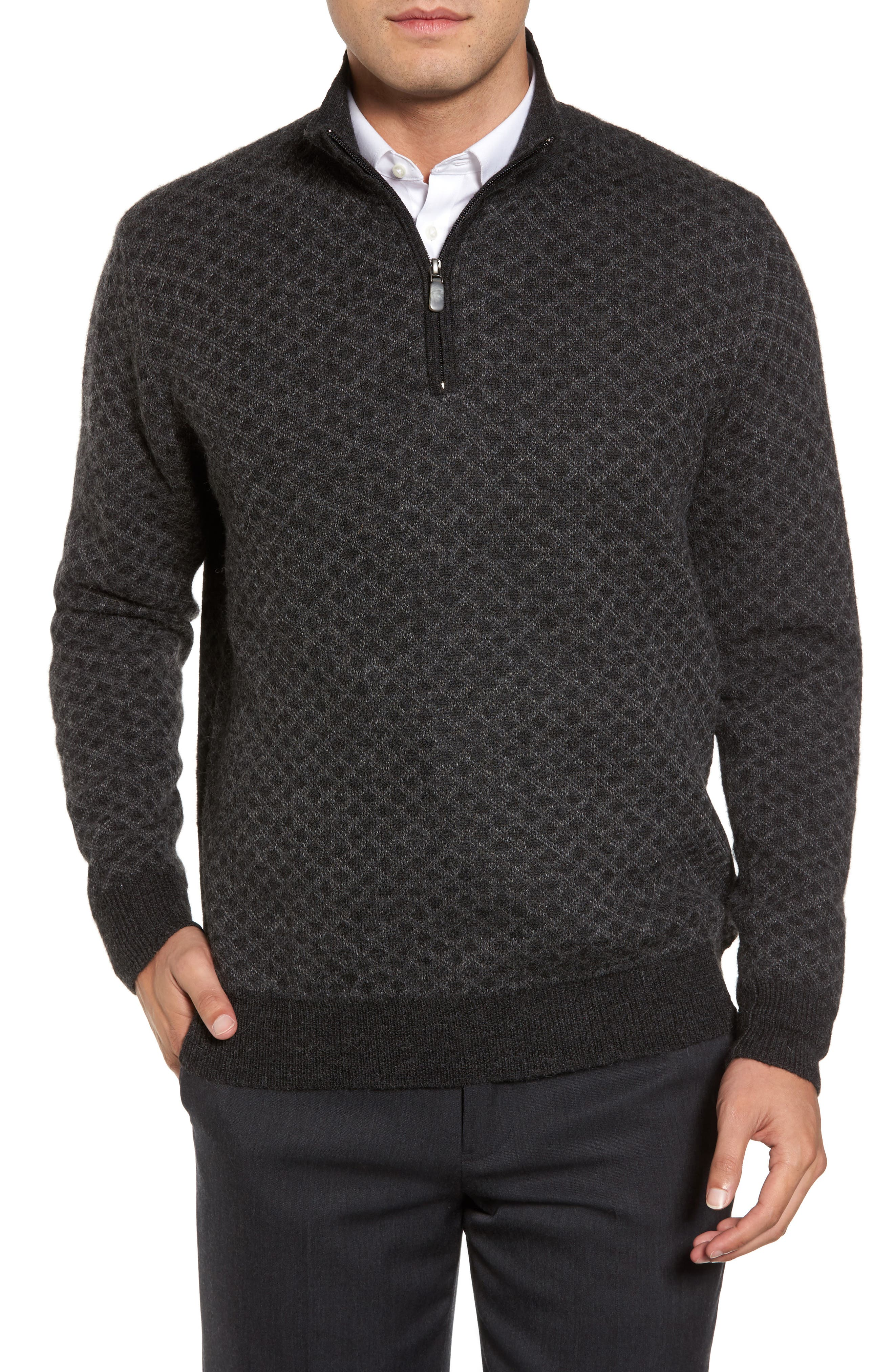 Diamond Quarter Zip Alpaca Sweater,                         Main,                         color, 020