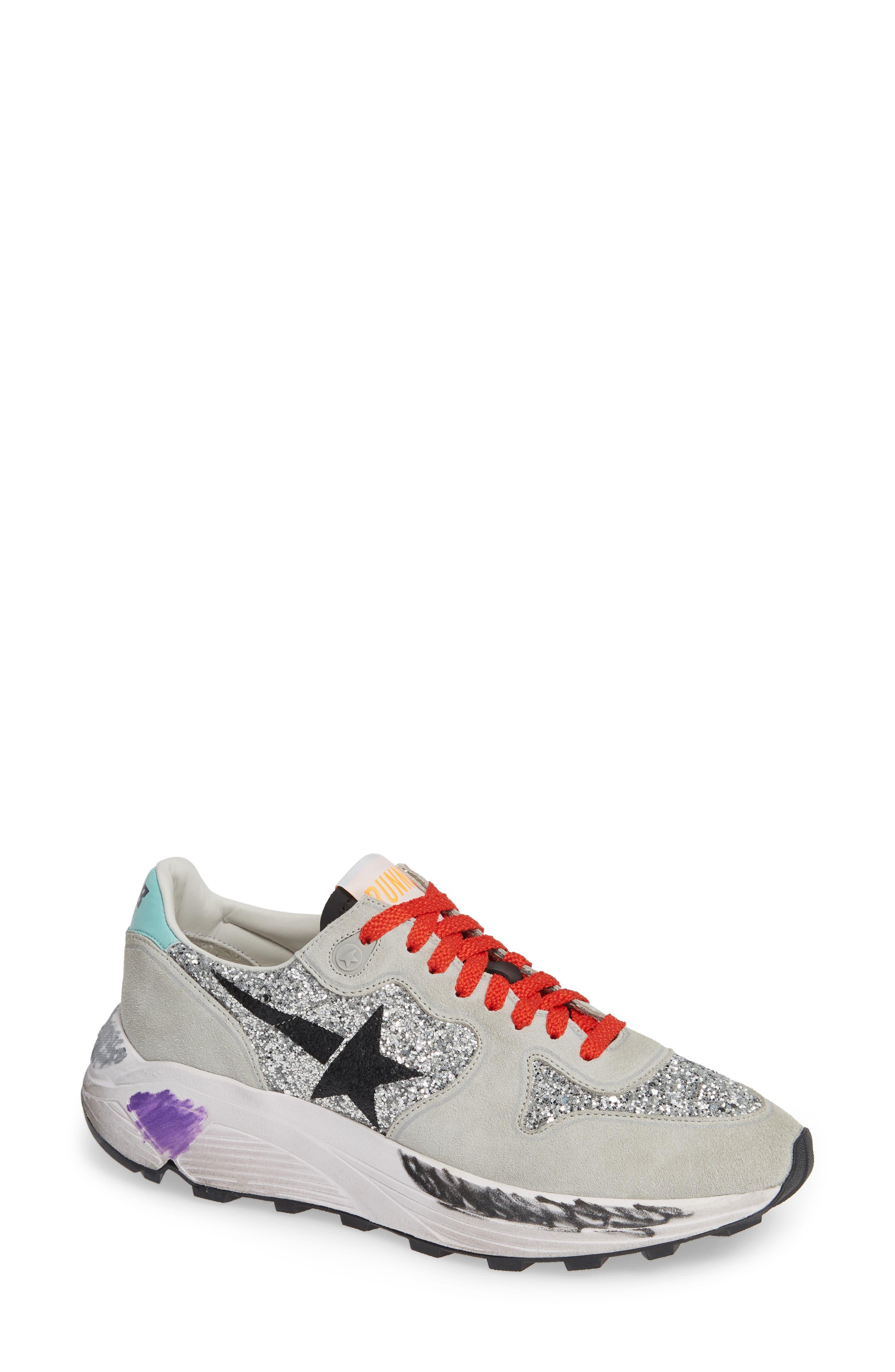 Glitter & Suede Running Sneakers in Silver Glitter/ Black