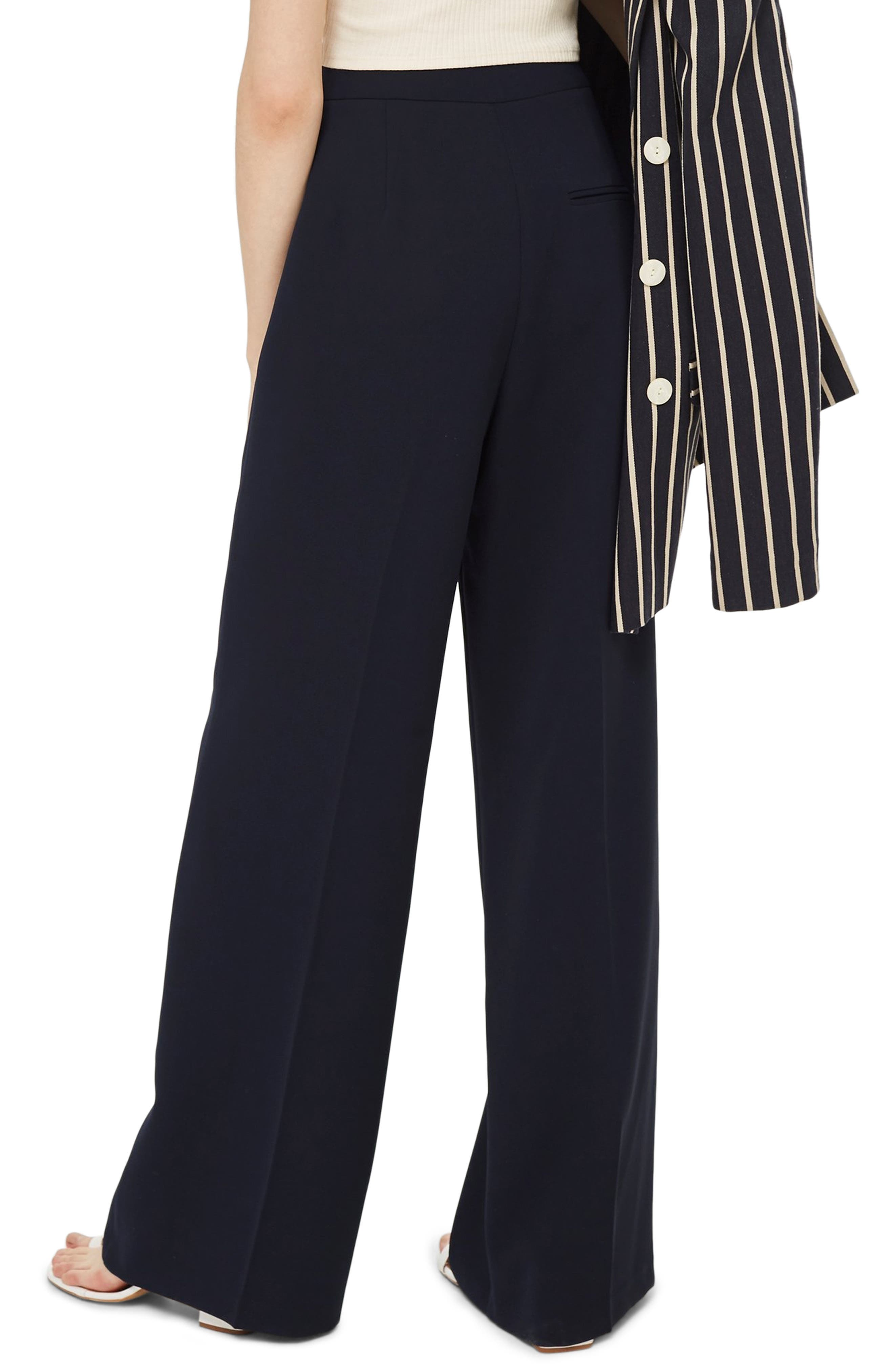 Clean High-Waist Wide Leg Trousers,                             Alternate thumbnail 2, color,                             NAVY BLUE