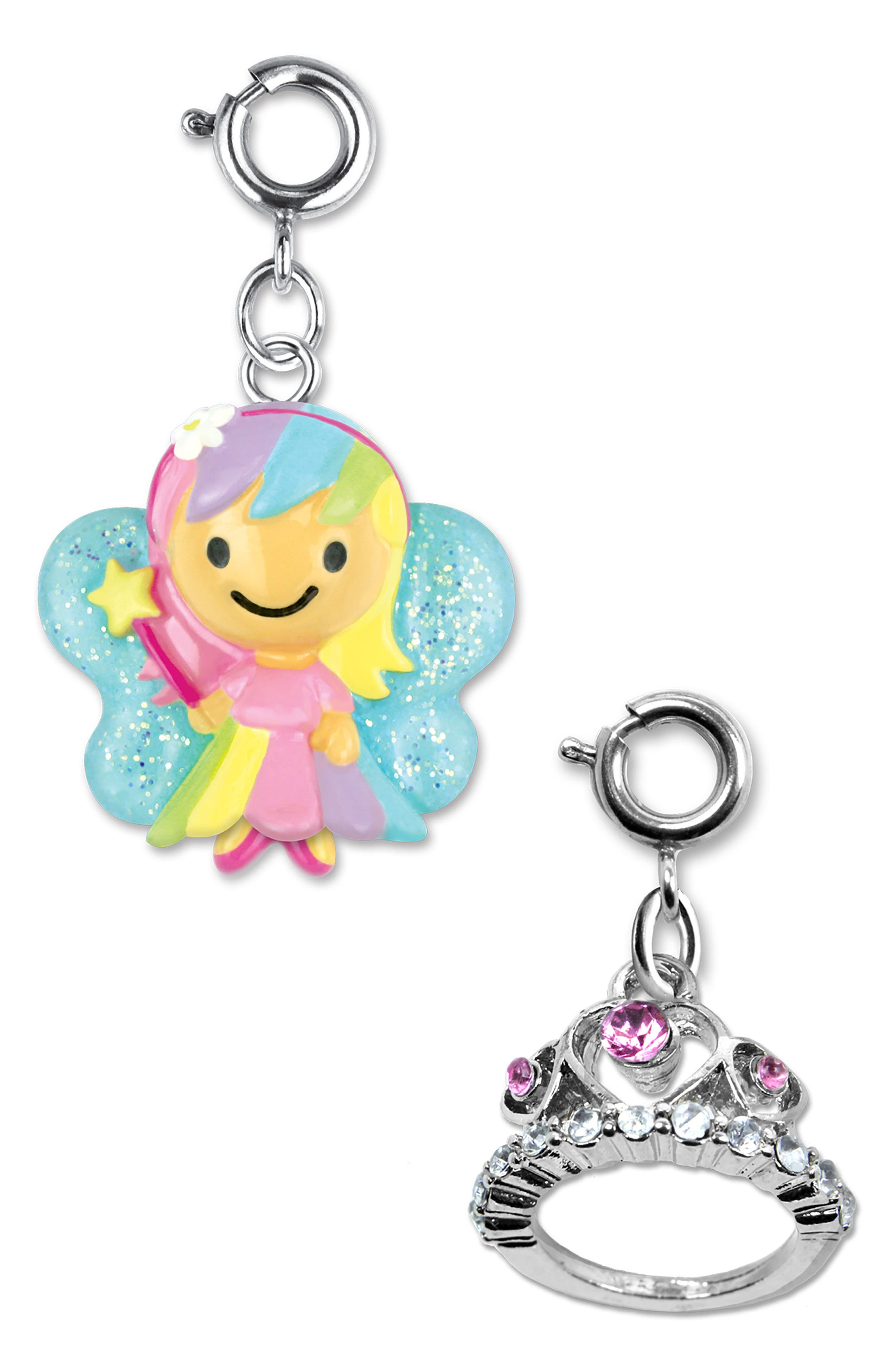 CHARM IT!<sup>®</sup> 2-Pack Glitter Fairy & Tiara Charms,                             Main thumbnail 1, color,                             MULTI
