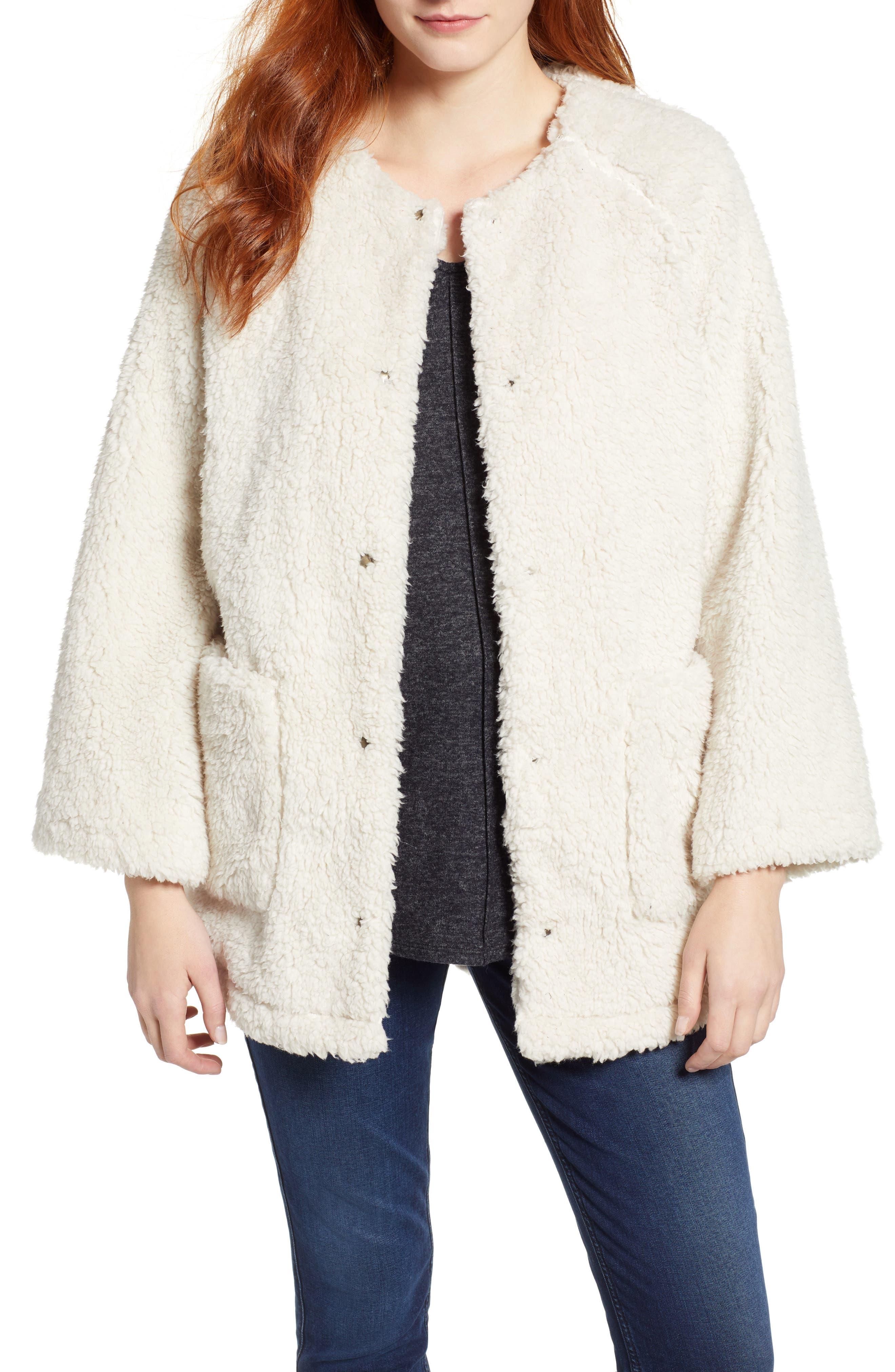 Caslon Fuzzy Fleece Jacket, Ivory