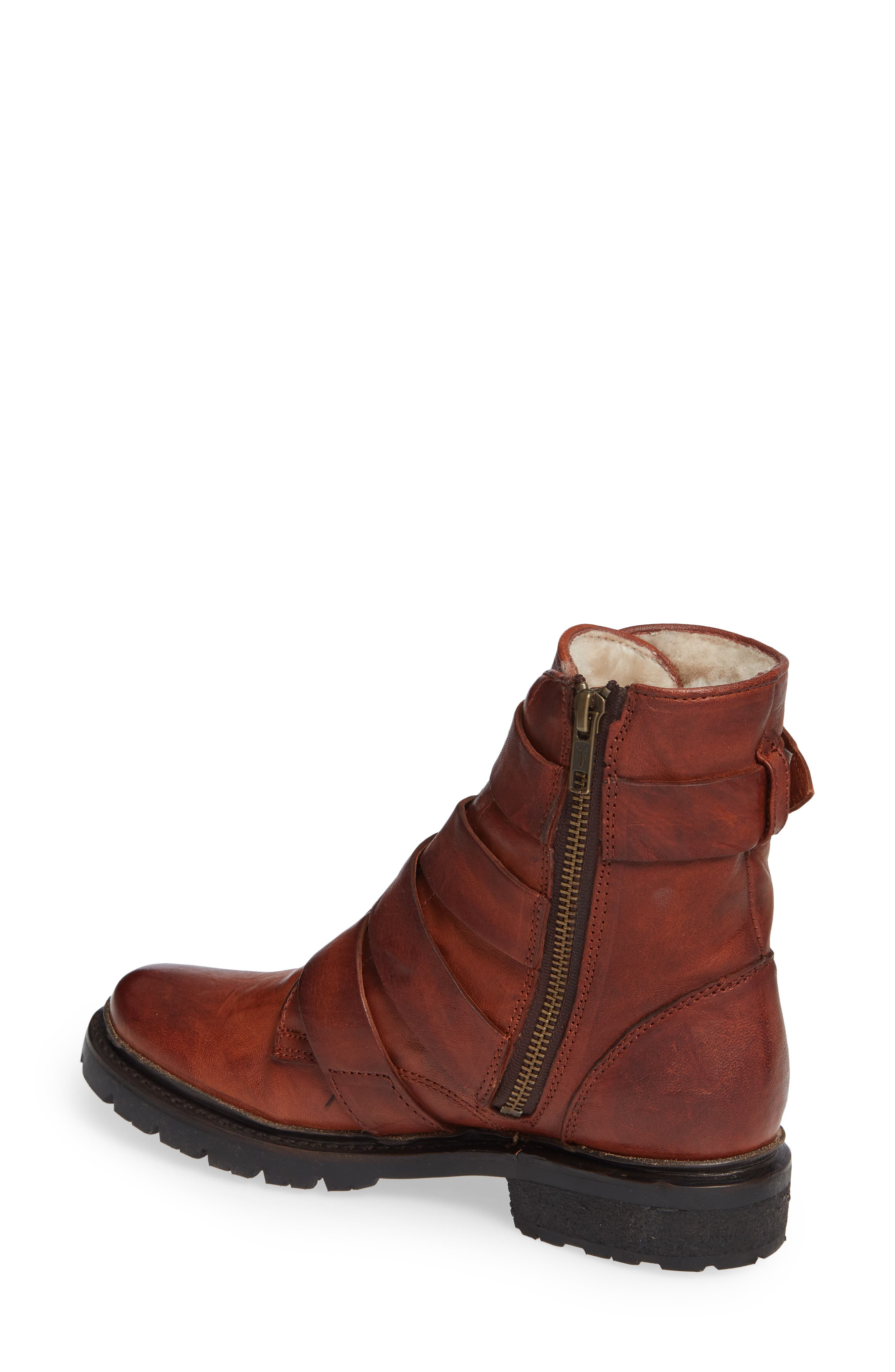 Vanessa Tanker Genuine Shearling Lined Boot,                             Alternate thumbnail 2, color,                             COGNAC LEATHER
