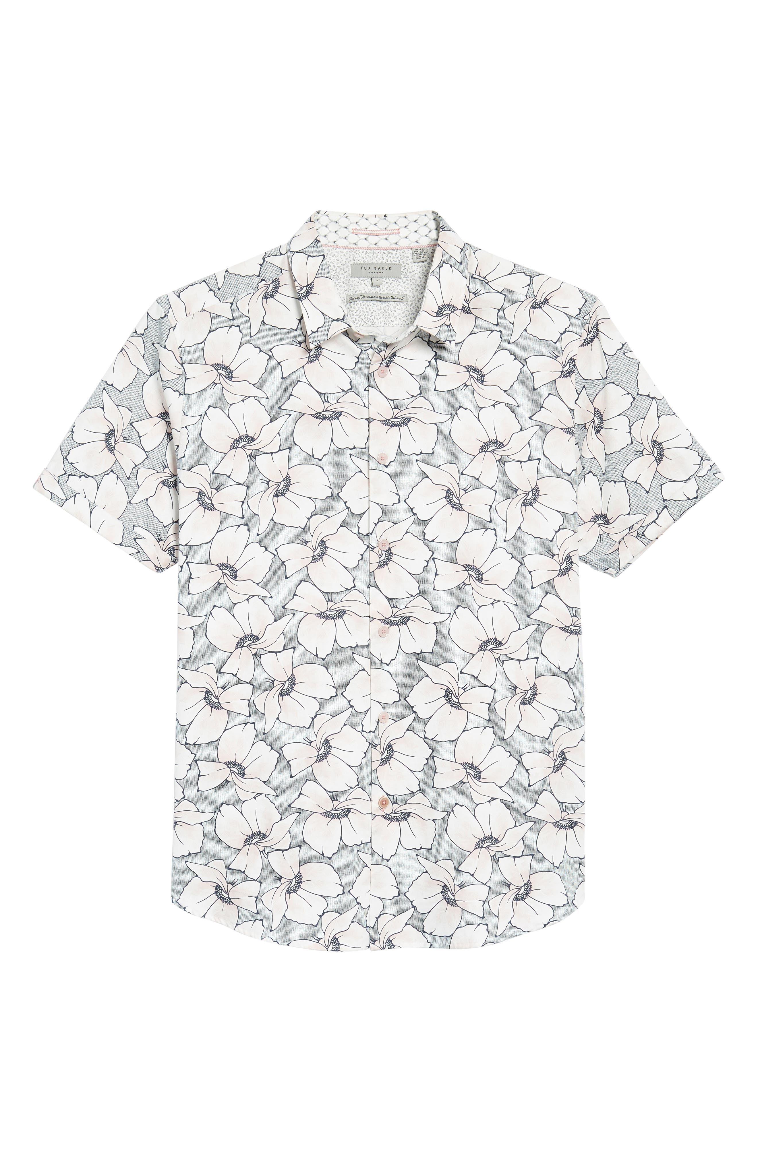 TED BAKER LONDON,                             Bigflo Floral Short Sleeve Sport Shirt,                             Alternate thumbnail 6, color,                             683