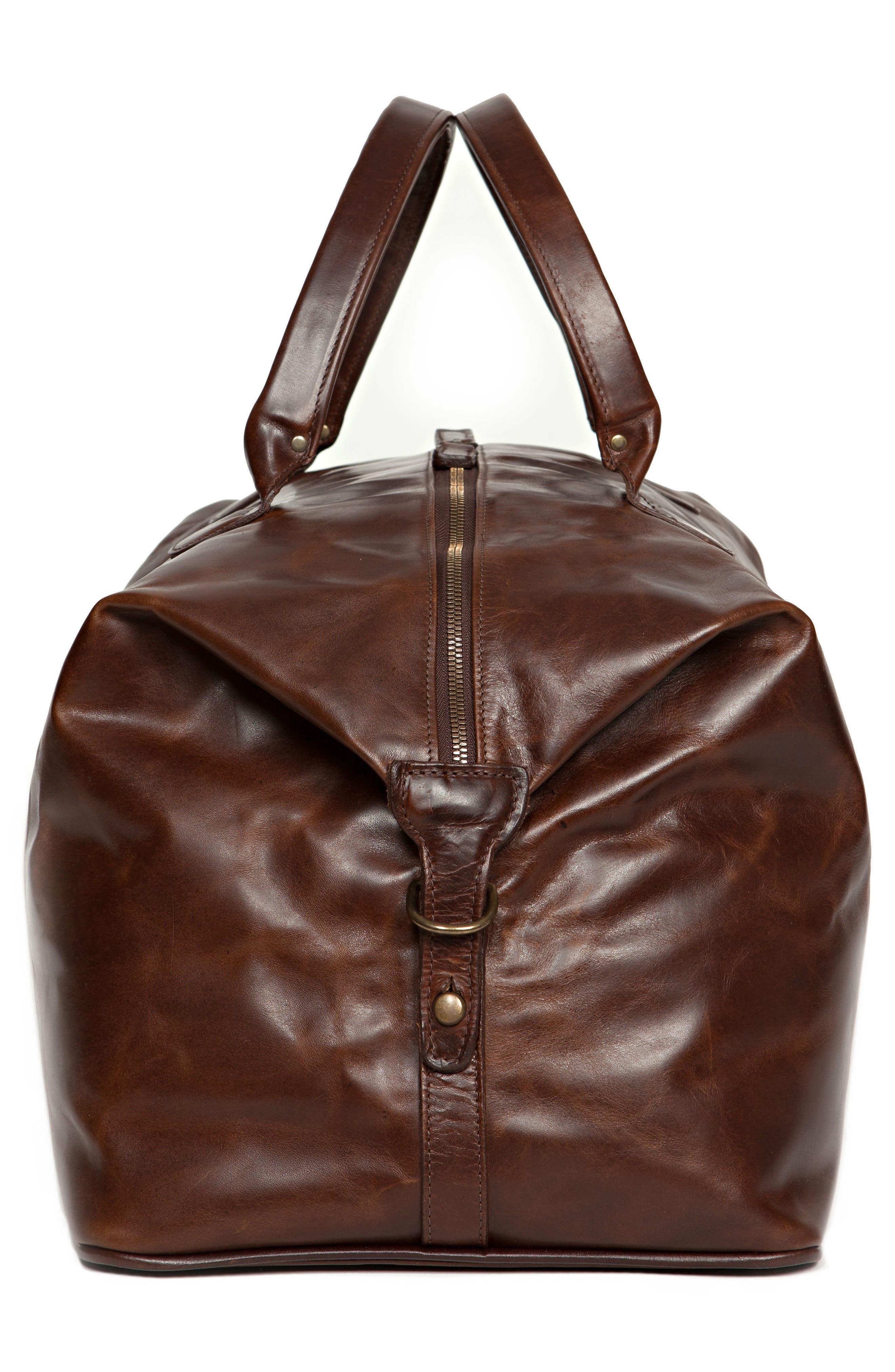 Benedict Leather Duffel Bag,                             Alternate thumbnail 3, color,                             BROMPTON BROWN