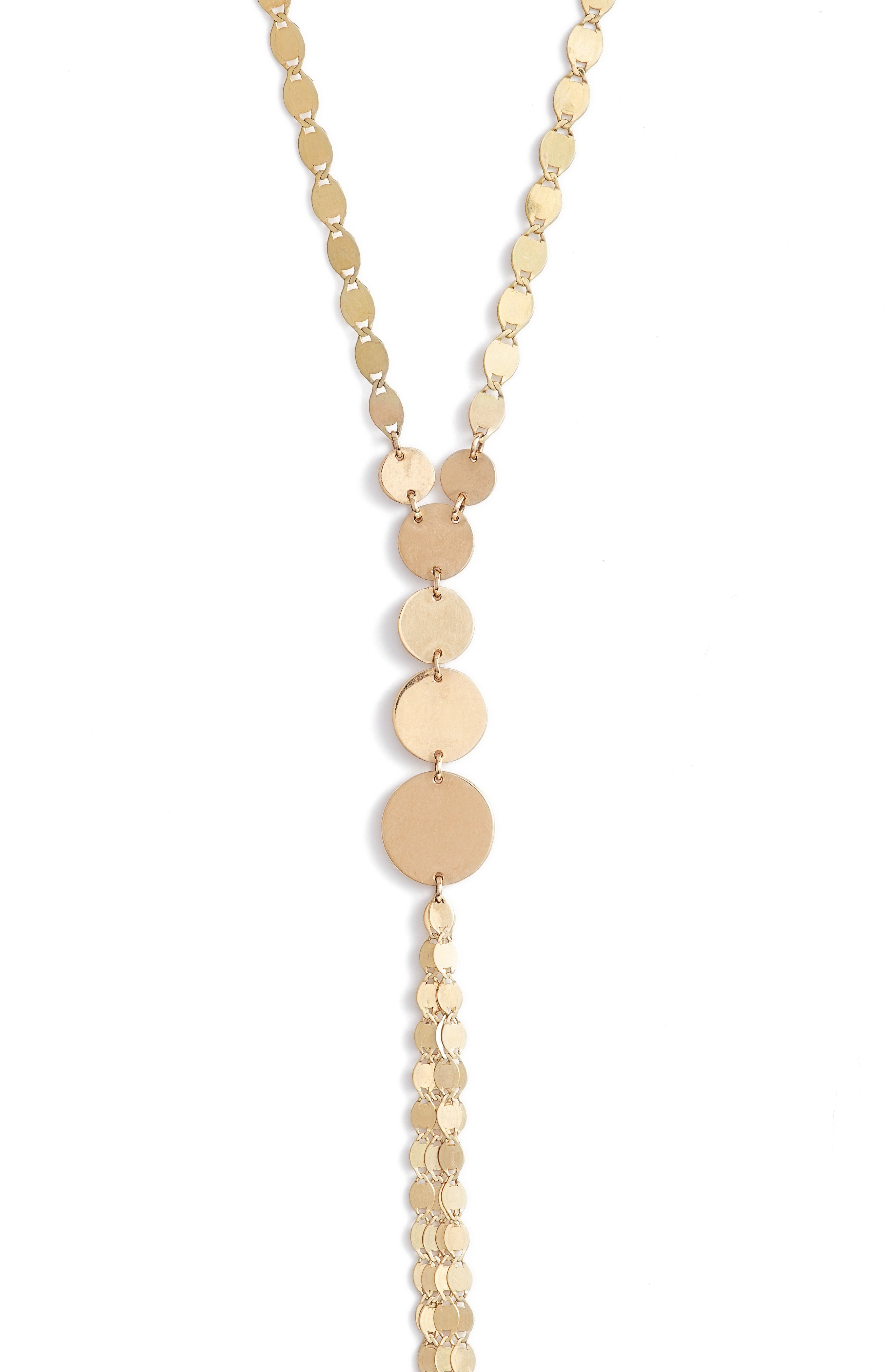 Disc Y-Necklace,                             Alternate thumbnail 3, color,                             YELLOW GOLD