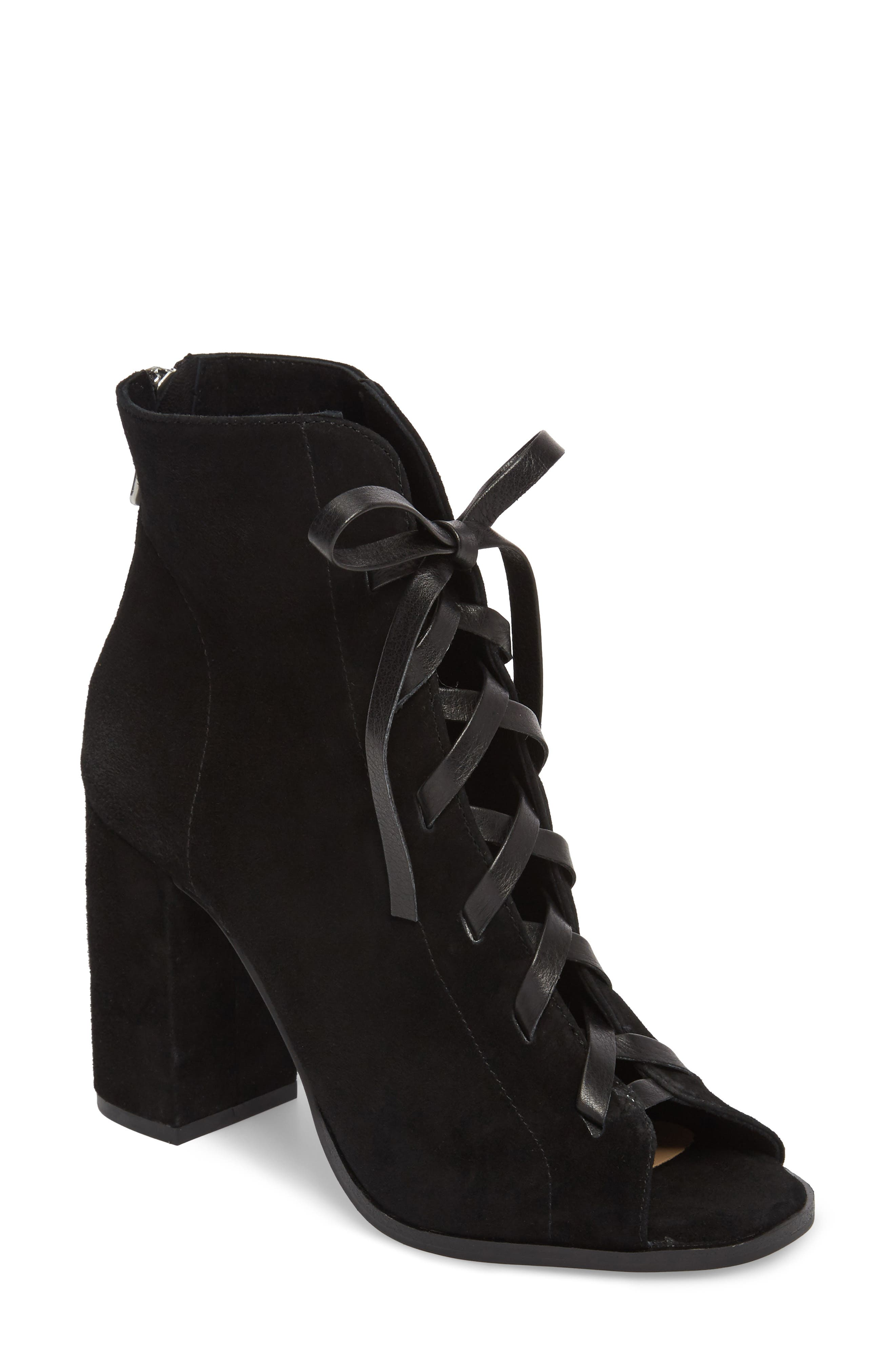 Layton Lace-Up Boot,                             Main thumbnail 1, color,                             BLACK SUEDE