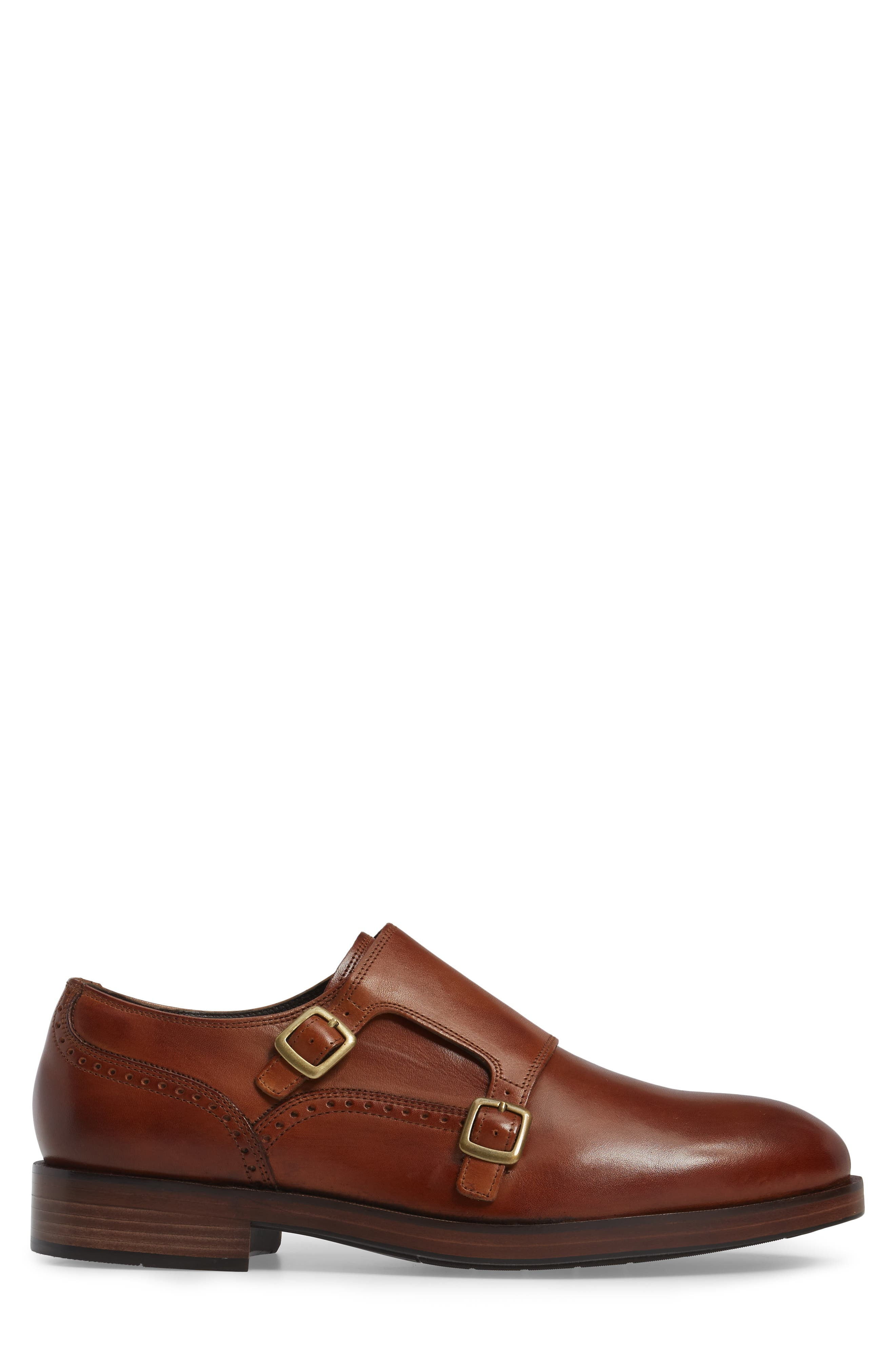 'Harrison' Double Monk Strap Shoe,                             Alternate thumbnail 4, color,                             BRITISH TAN LEATHER