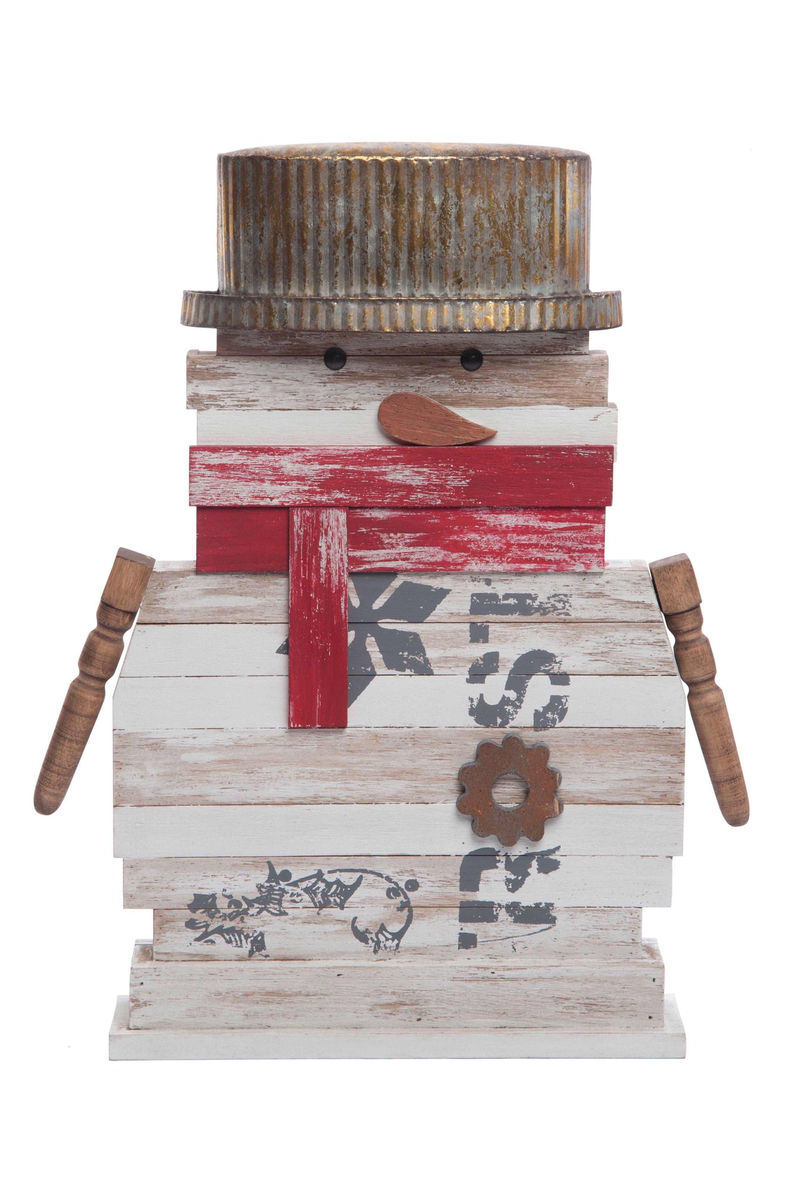 Reclaimed Snowman Decoration,                             Main thumbnail 1, color,                             WOOD/ METAL